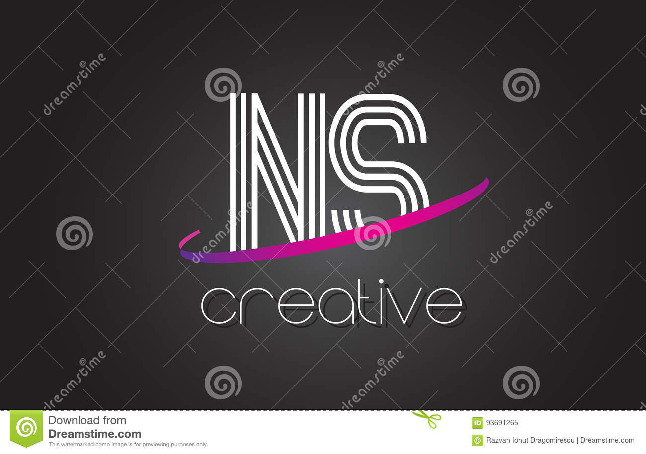 NS N S Letter Logo With Lines Design And Purple Swoosh. Stock ...