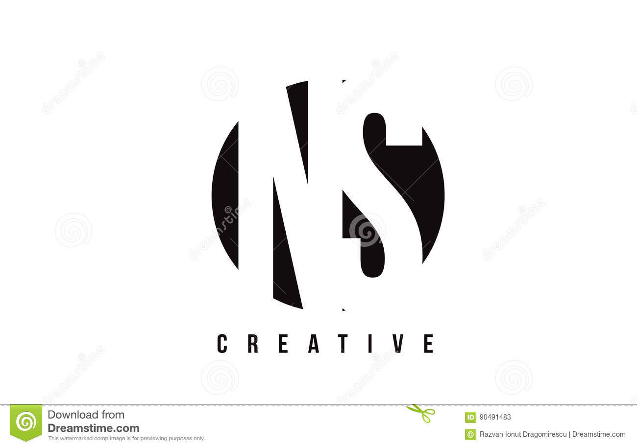 NS N S White Letter Logo Design With Circle Background. Stock ...