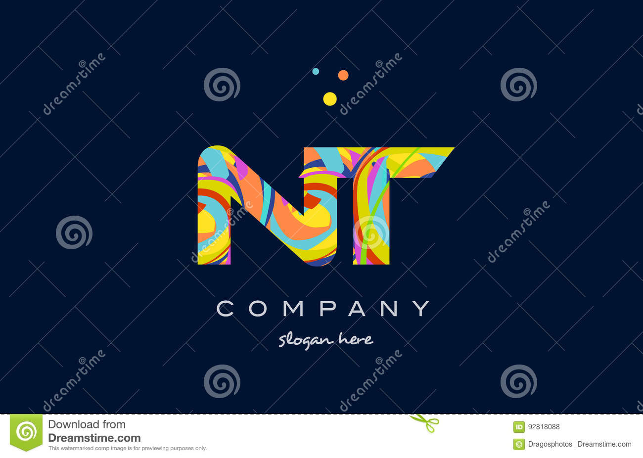 Nt N T Colorful Alphabet Letter Logo Icon Template Vector Stock