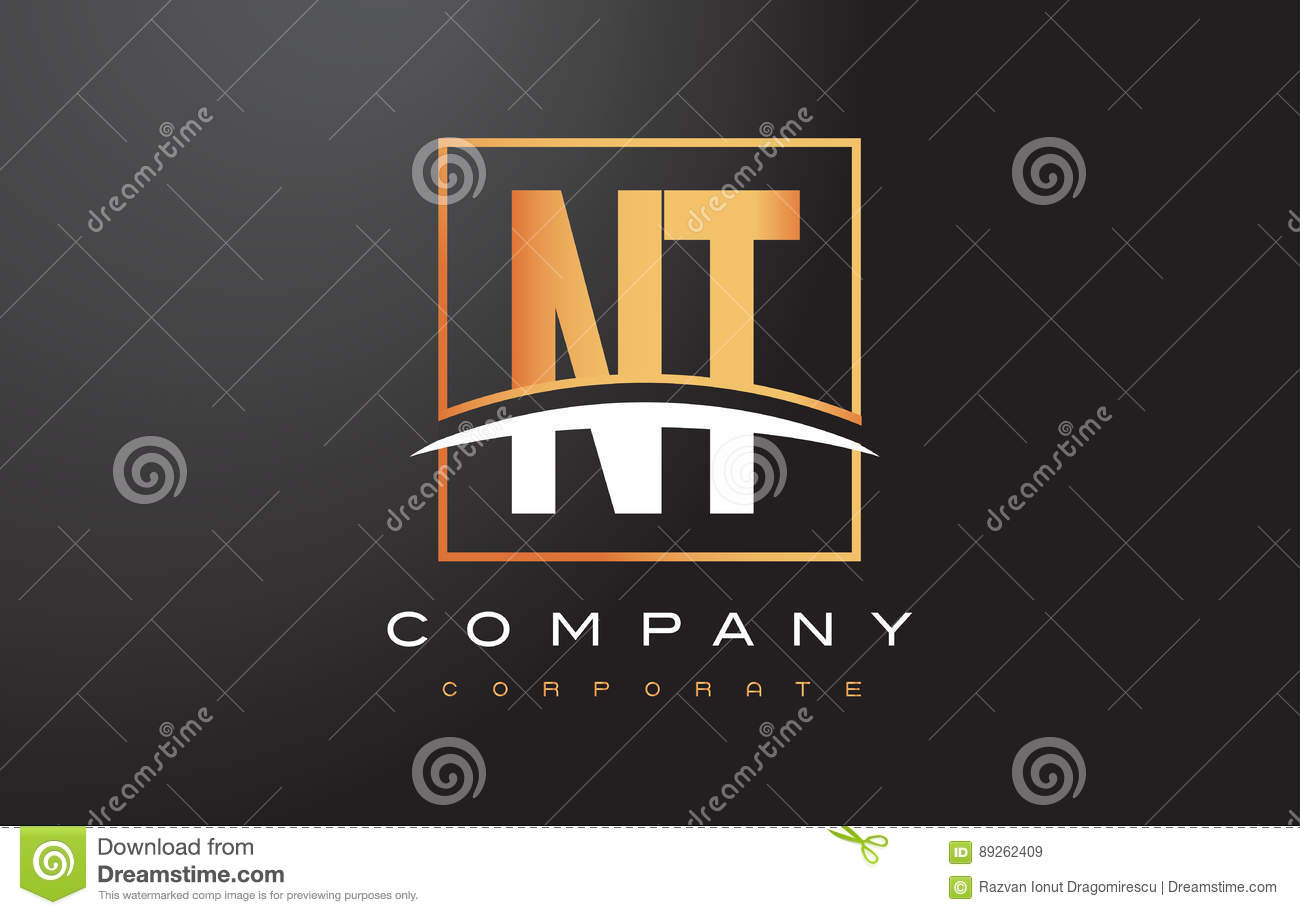 Nt N T Golden Letter Logo Design With Gold Square And Swoosh Stock