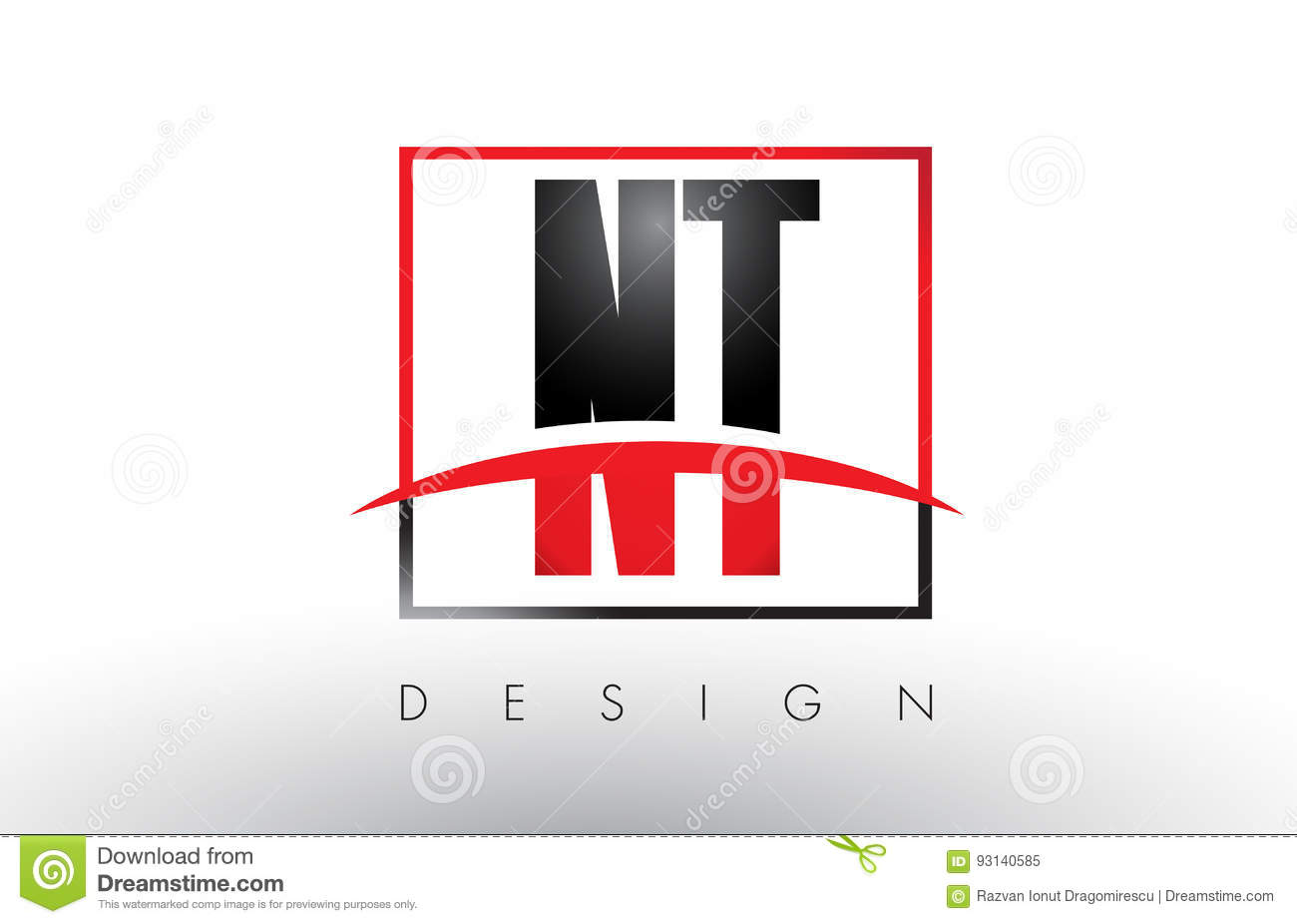 Nt N T Logo Letters With Red And Black Colors And Swoosh Stock
