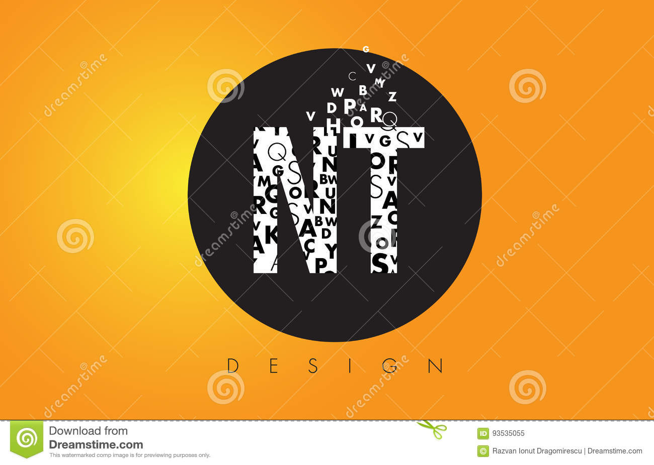 Nt N T Logo Made Of Small Letters With Black Circle And Yellow B