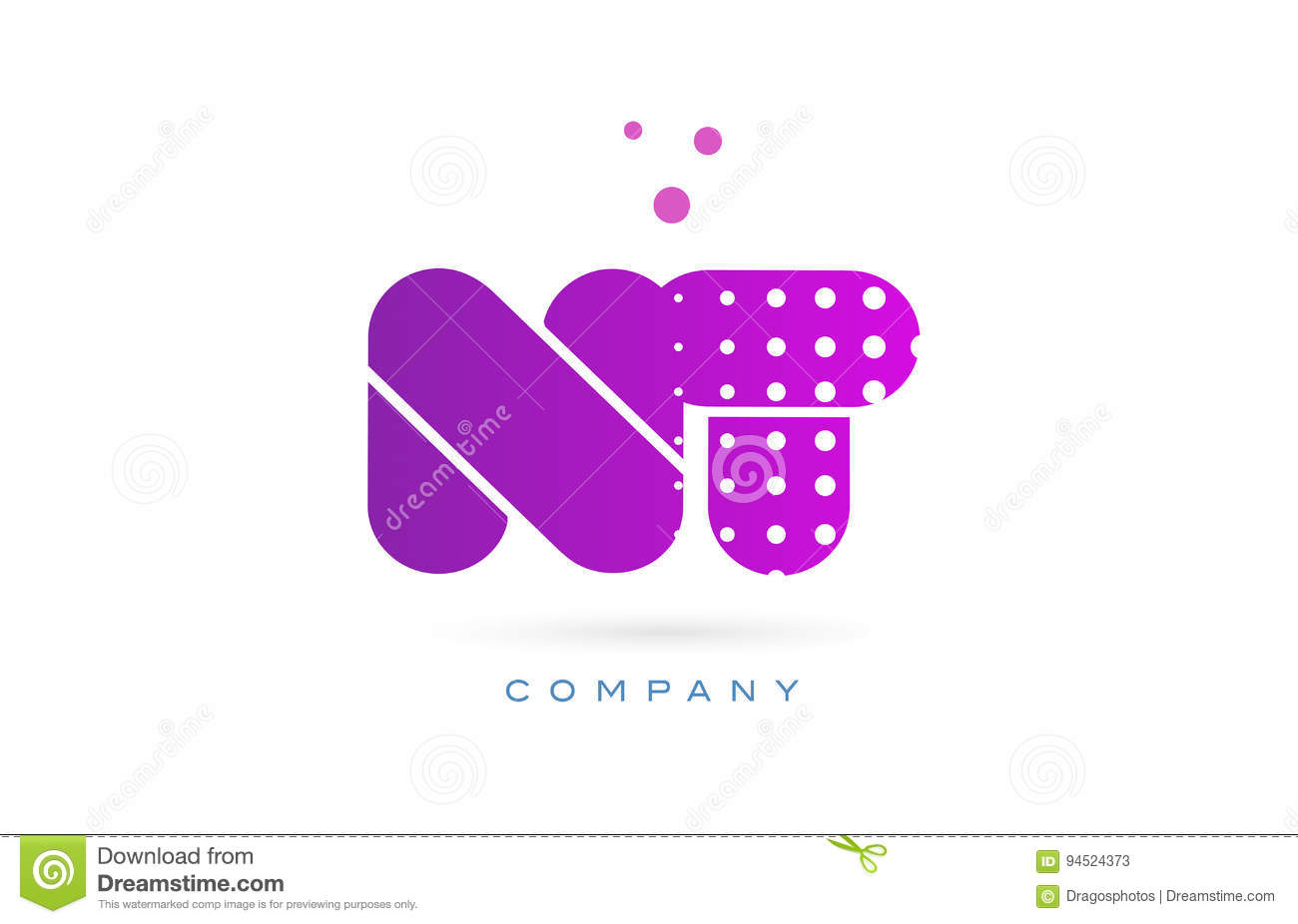 Nt N T Pink Dots Letter Logo Alphabet Icon Stock Vector