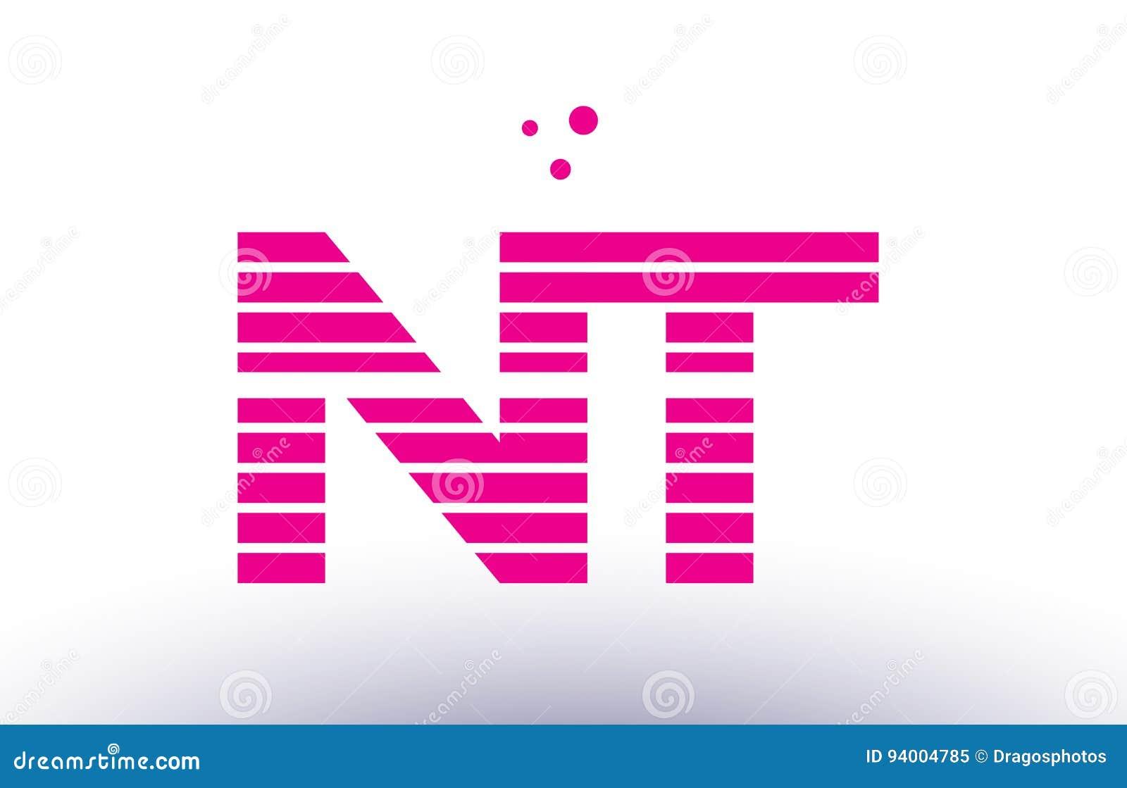 Nt N T Pink Purple Line Stripe Alphabet Letter Logo Vector Templ