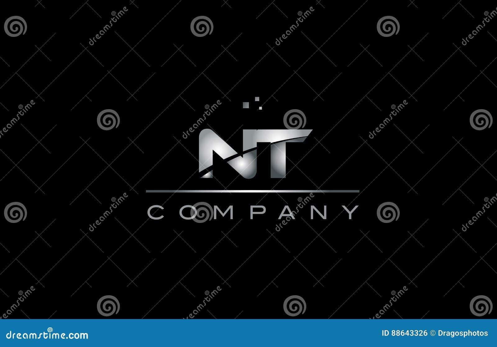 Nt N T Silver Grey Metal Metallic Alphabet Letter Logo Icon Stock