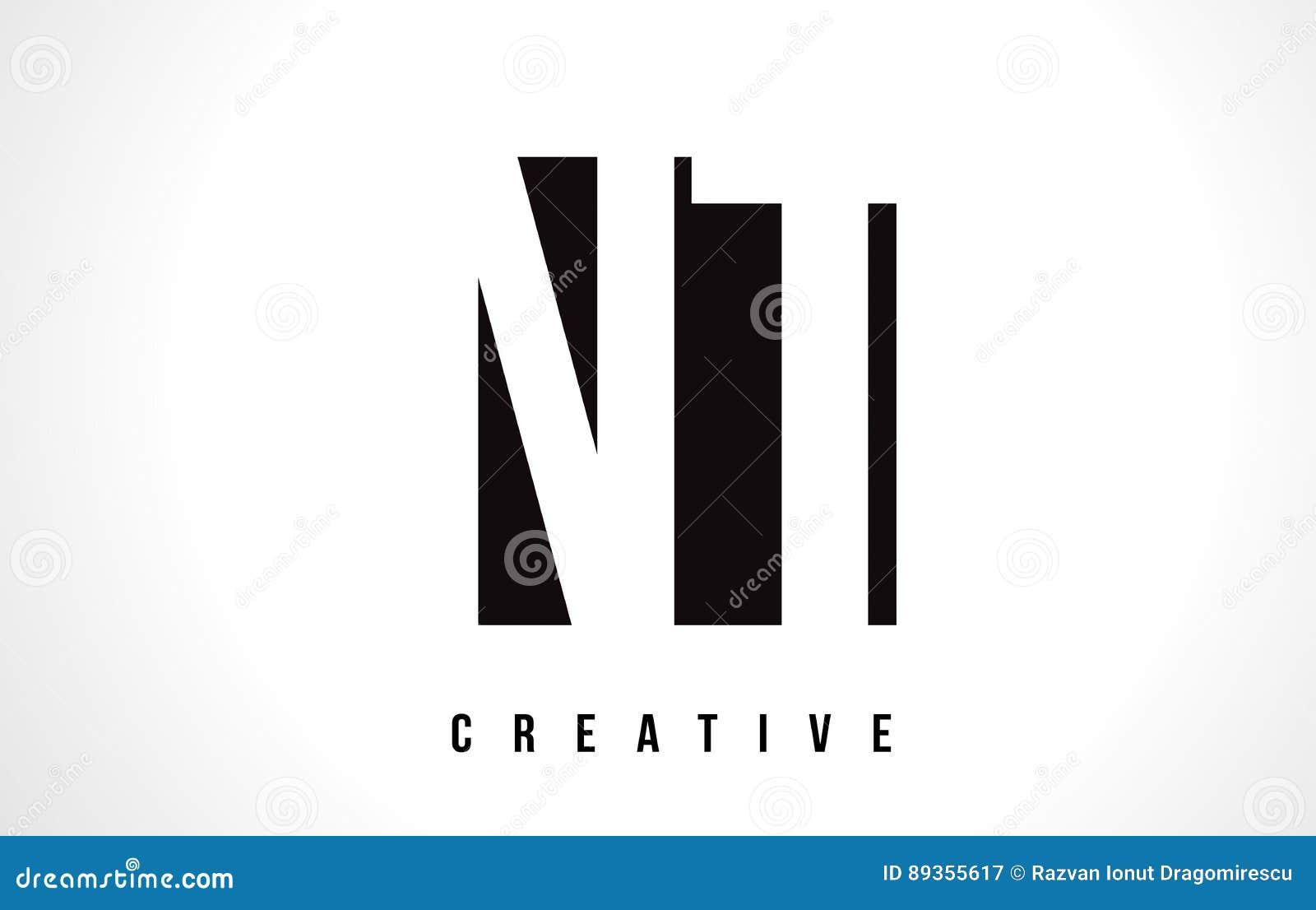 Nt N T White Letter Logo Design With Black Square Stock Vector