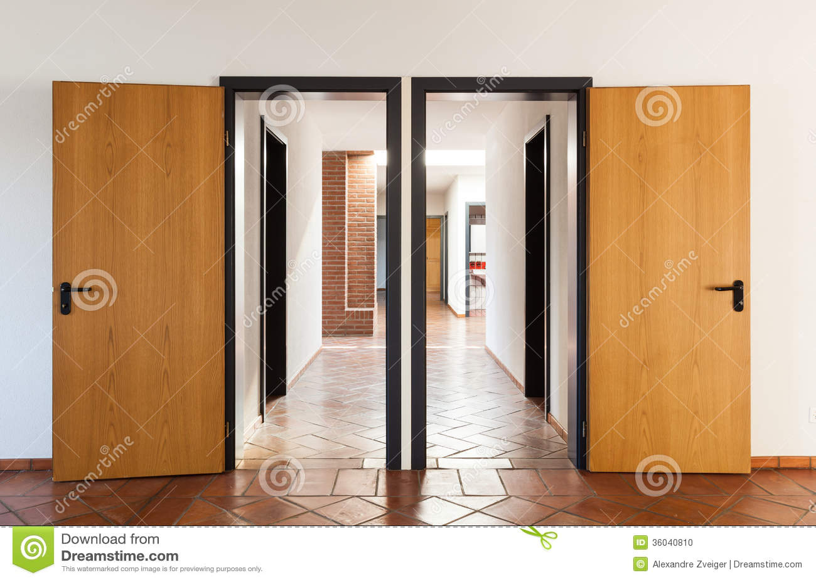 Stock Room Doors : Nterior empty room with two doors stock photo image
