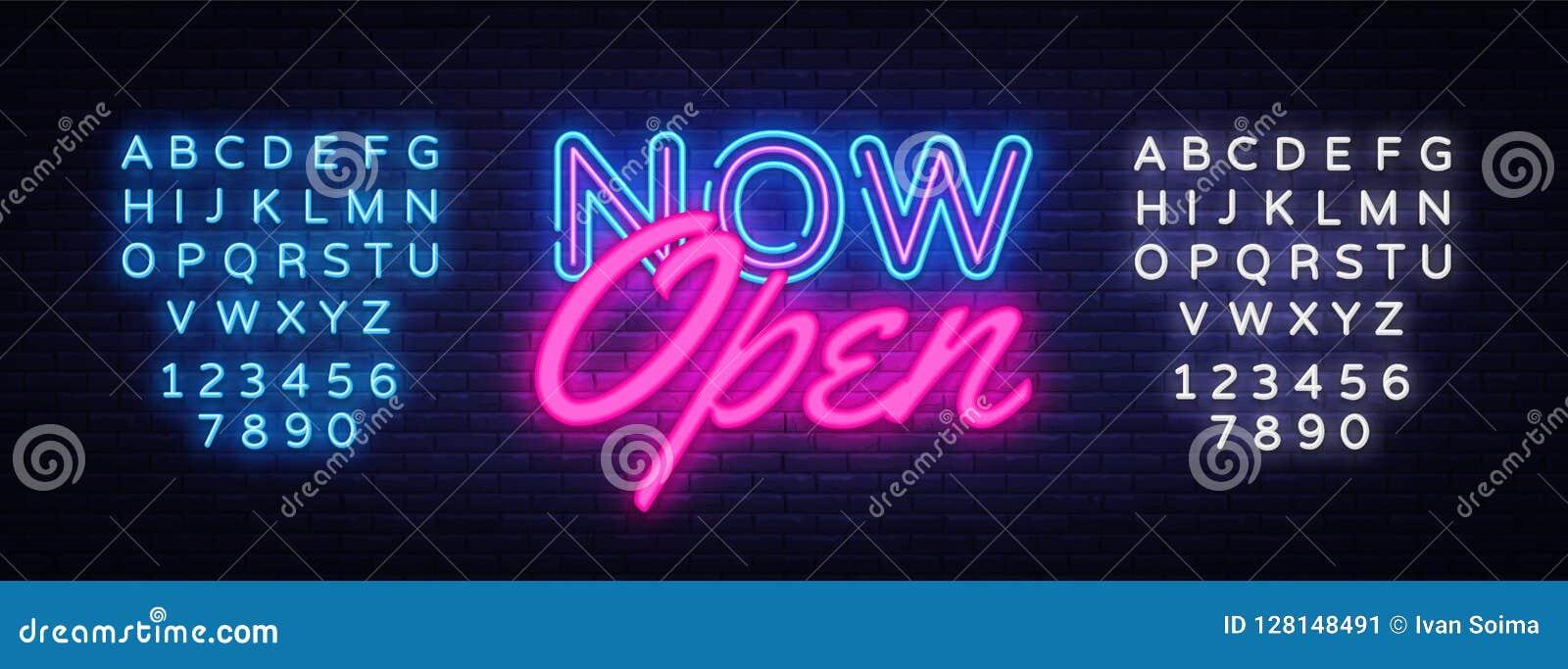 Nu öppen mall för design för neontextvektor Nu öppen neonlogo, trend för modern design för ljus banerdesignbeståndsdel färgrik