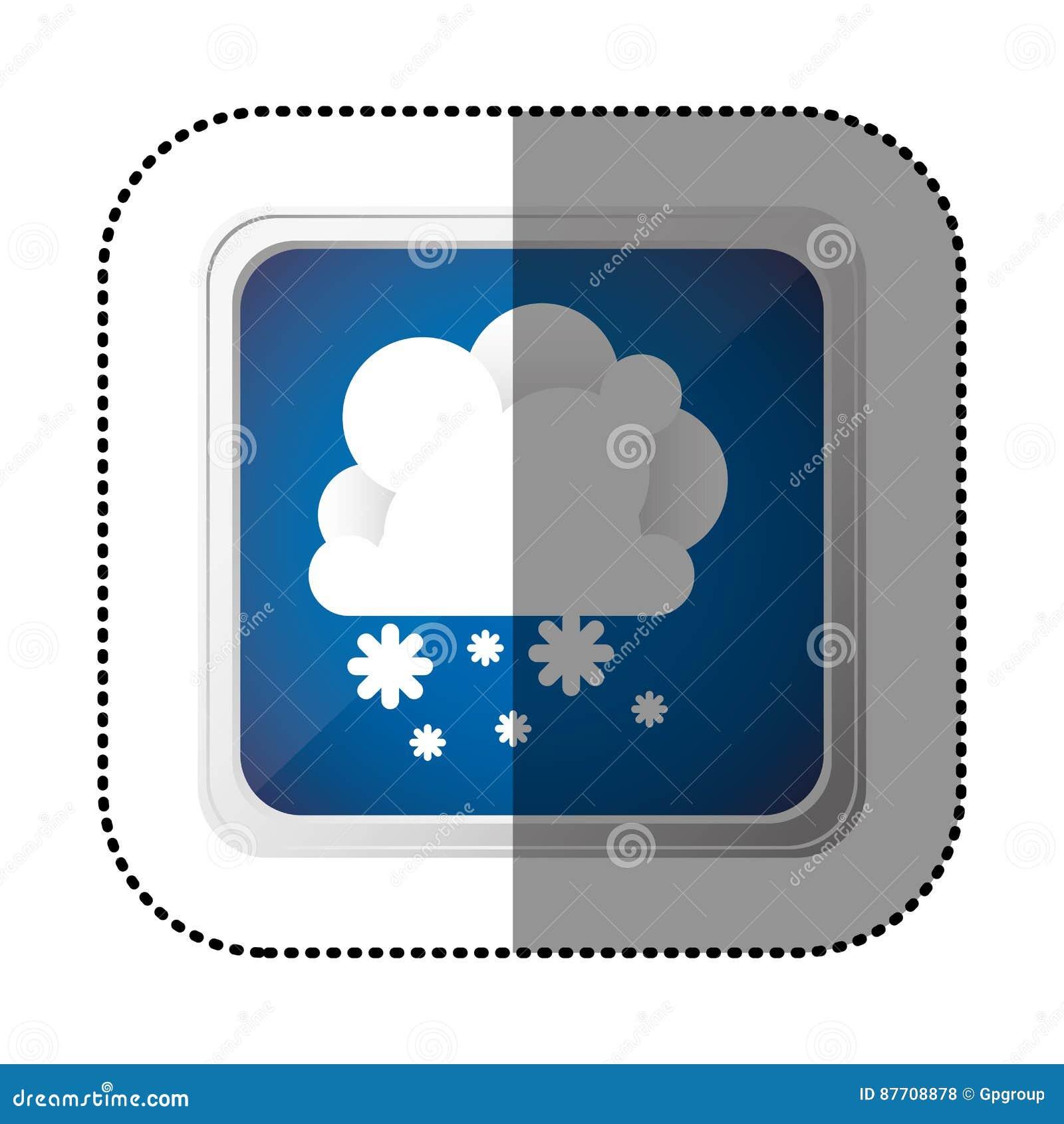 Nuage d emblème de couleur avec l icône de neige