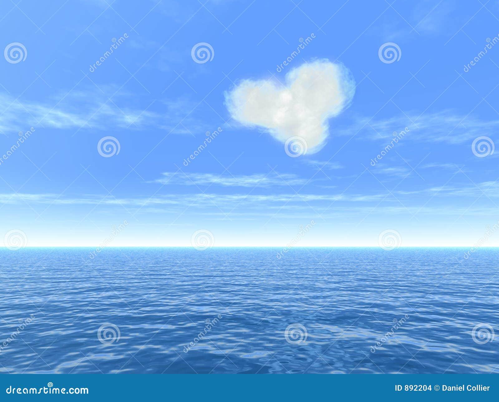 Nuage de coeur au-dessus de mer