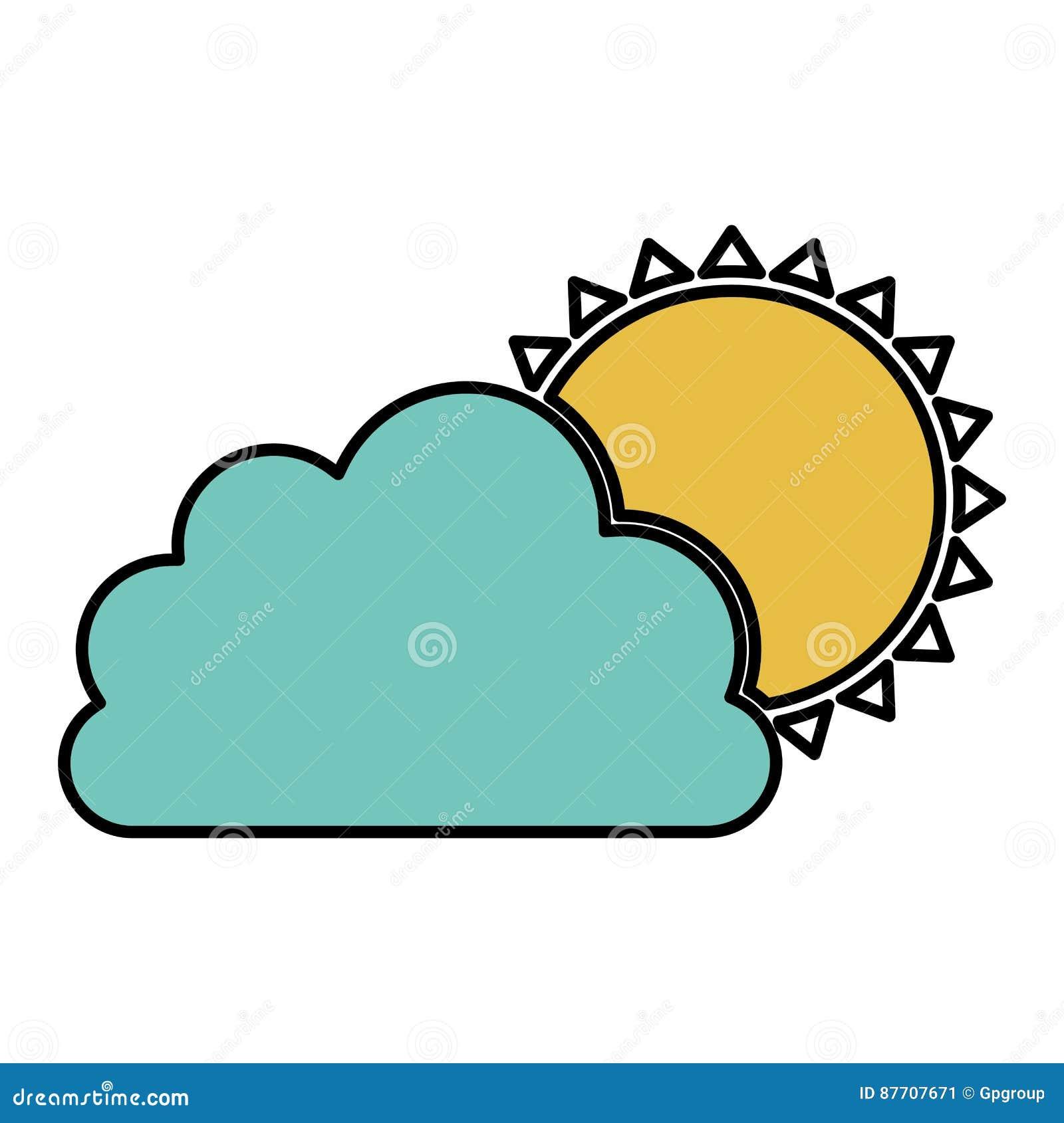 Nuage de couleur avec l icône du soleil