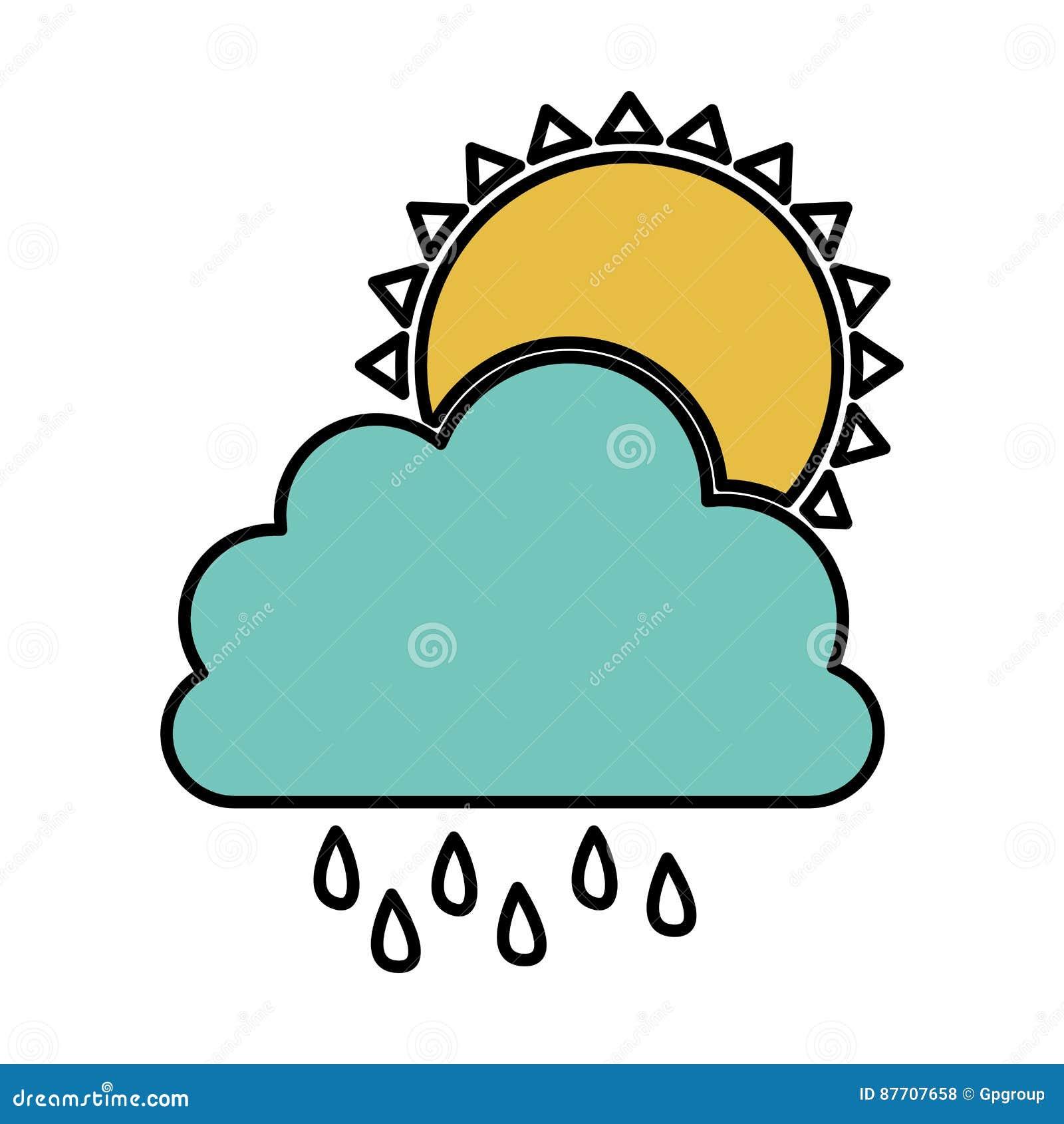 Nuage de couleur rainning avec l icône du soleil