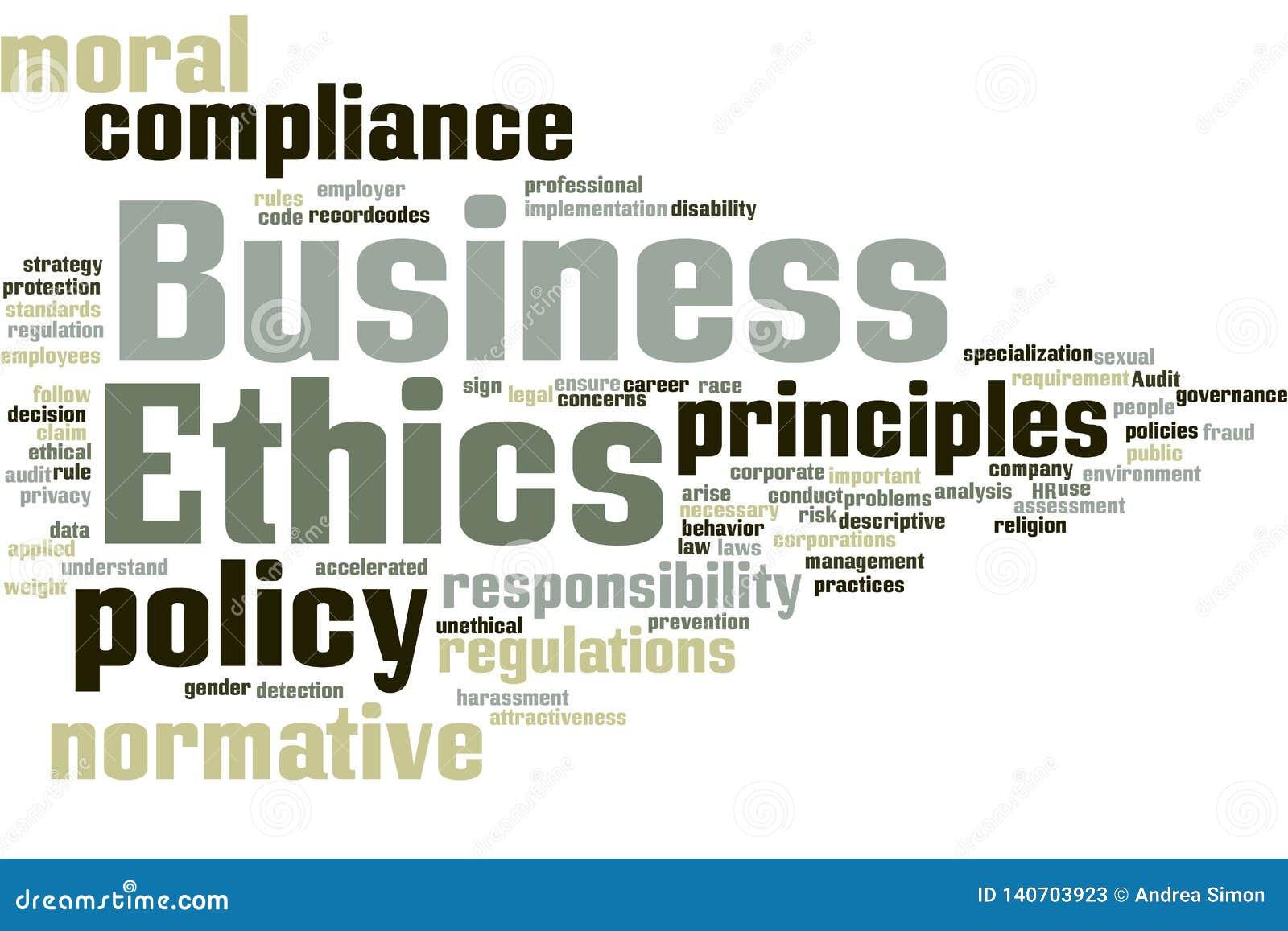 Nuage de mot d éthique d affaires