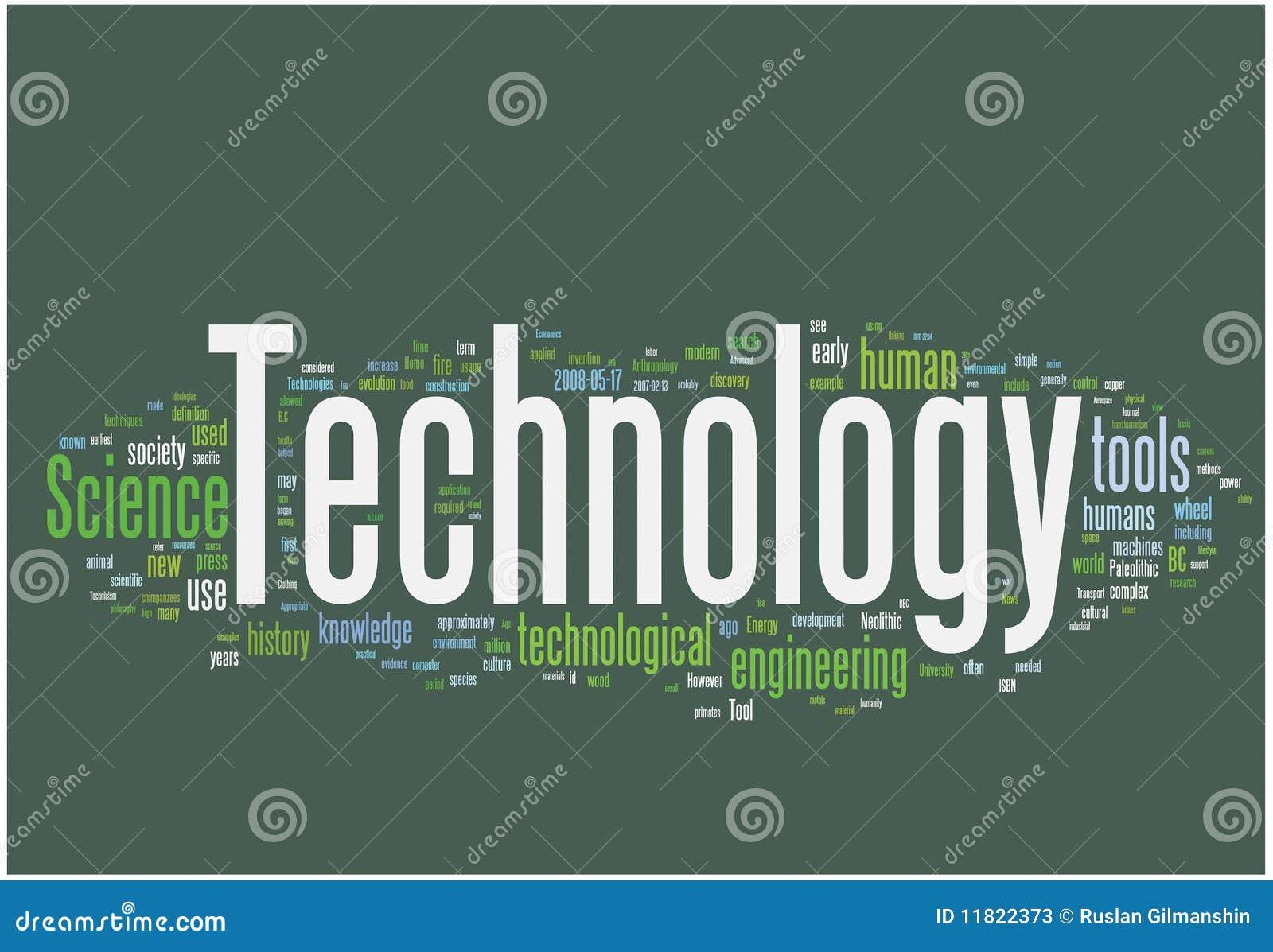 Nuage de mot de technologie