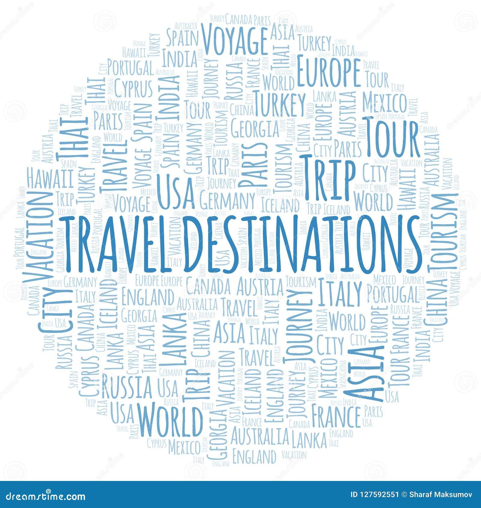 Nuage de mot de destinations de voyage