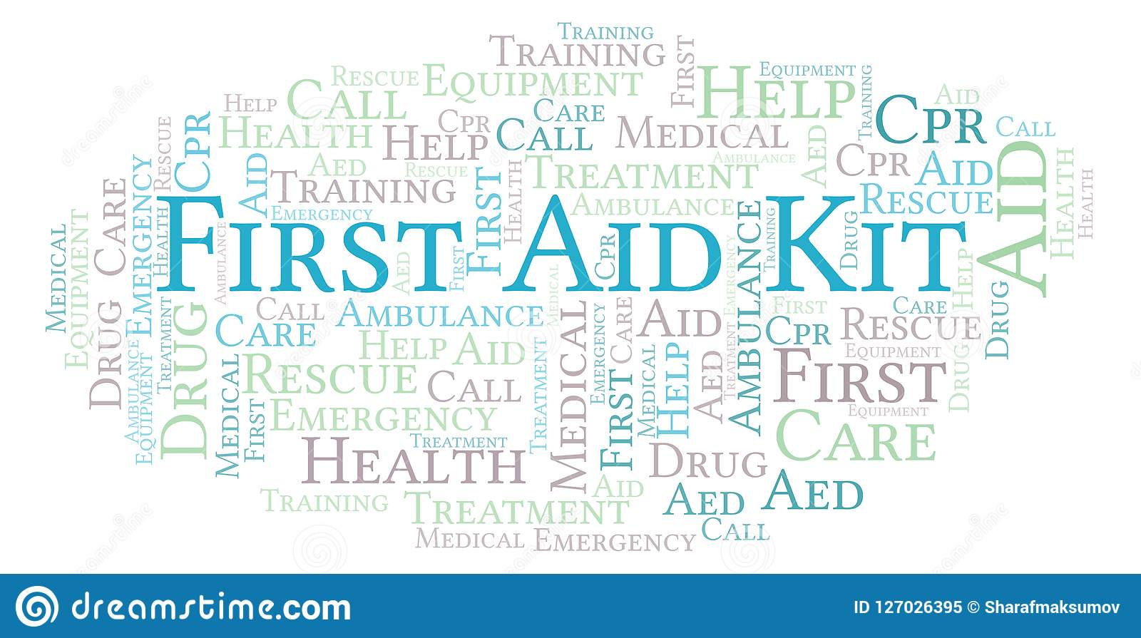 Nuage de mot de kit de premiers secours, fait avec le texte seulement