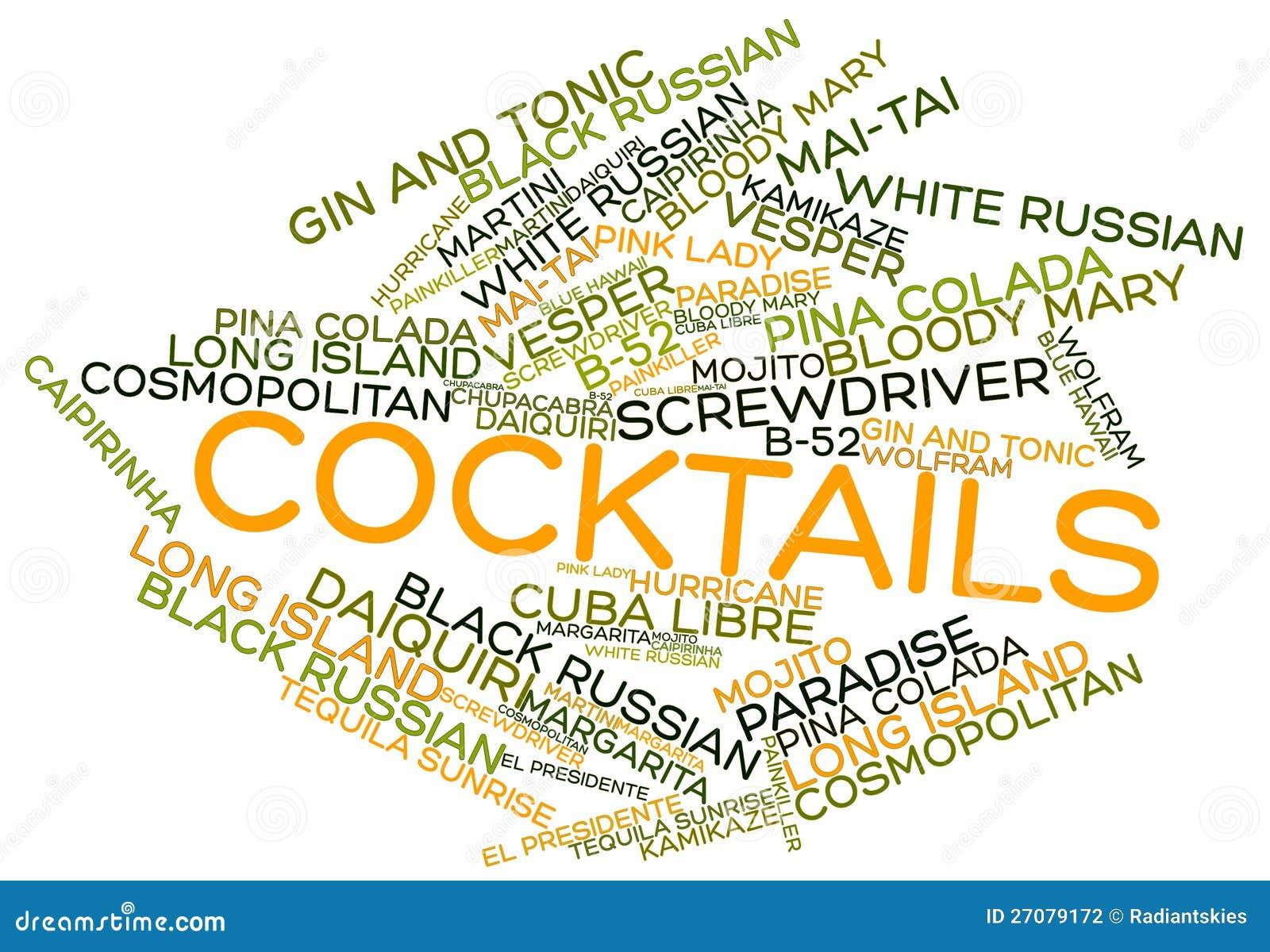 Nuage de mot pour des cocktails