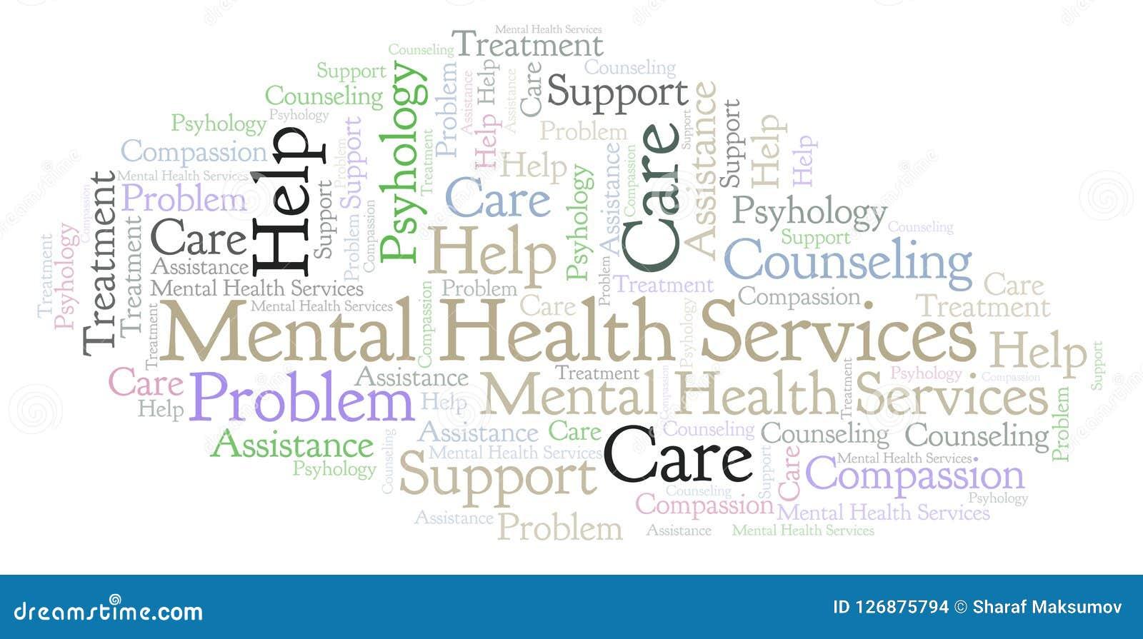 Nuage de mot de services de santé mentale