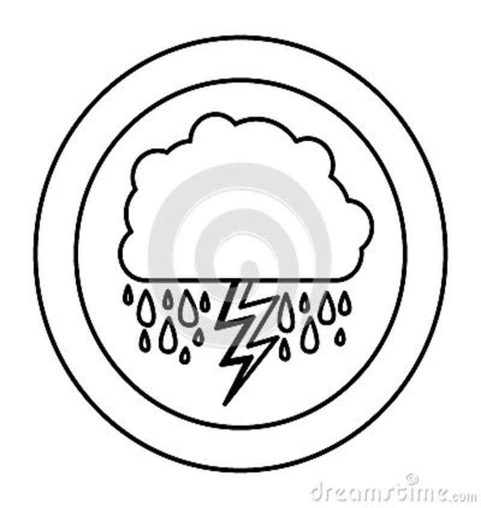 Nuage de silhouette rainning avec le rayon