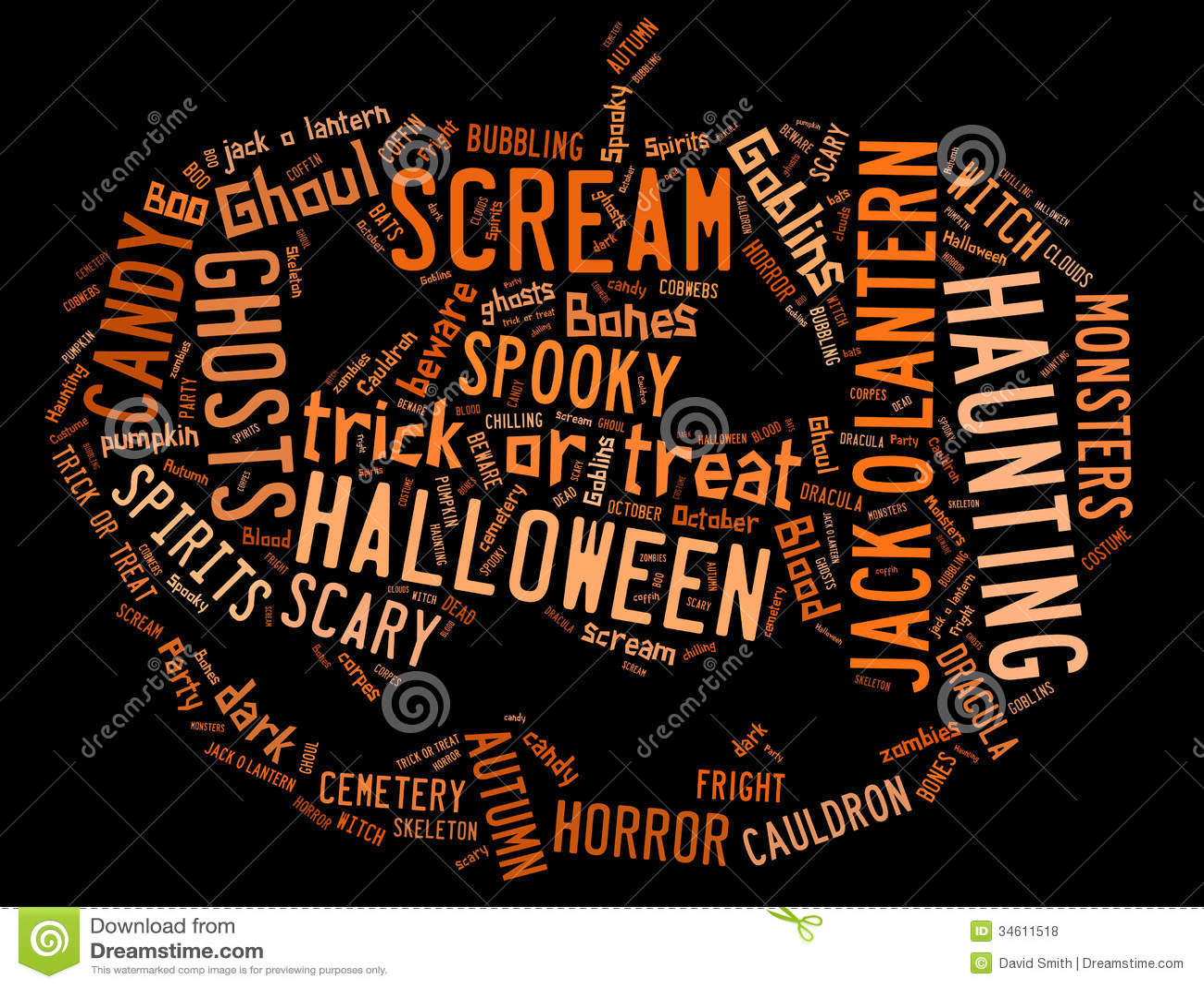 Nuage de Word traitant Halloween