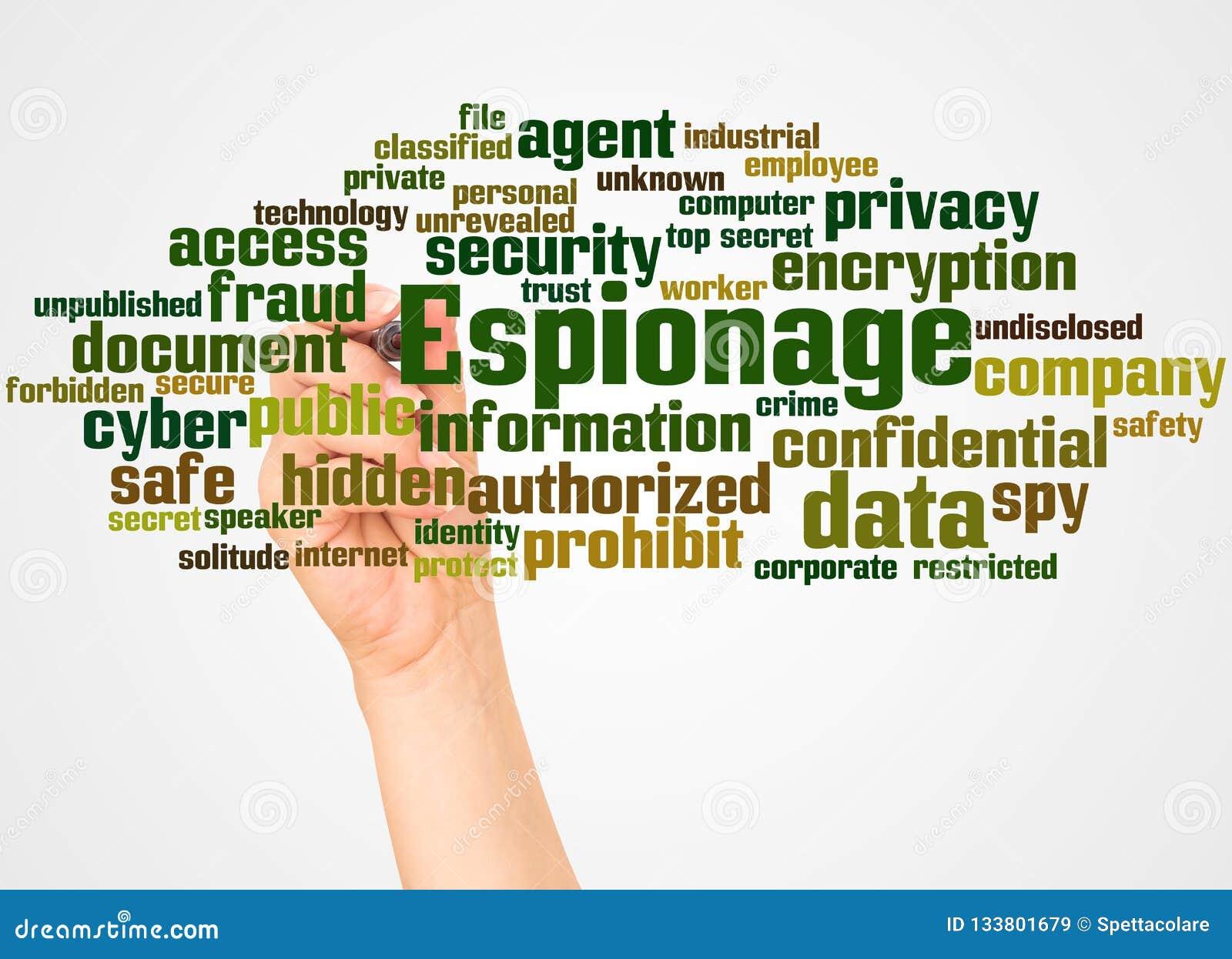 Nuage et main de mot d espionnage avec le concept de marqueur