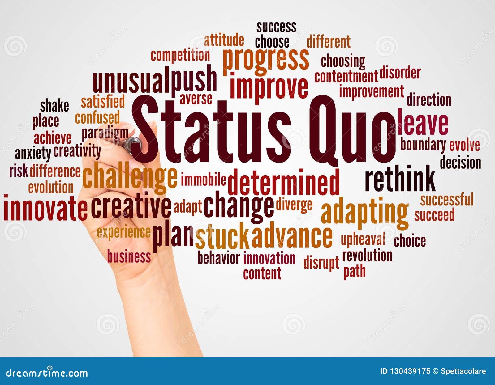 Nuage et main de mot de statu quo avec le concept de marqueur