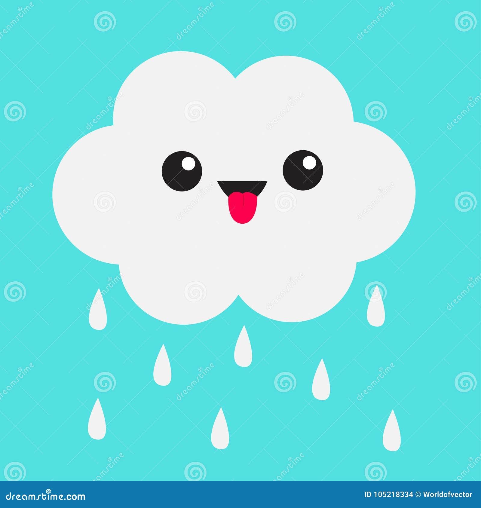 Nuage mignon de kawaii de bande dessinée avec des baisses de pluie Représentation de l émotion de langue Yeux et bouche D isoleme