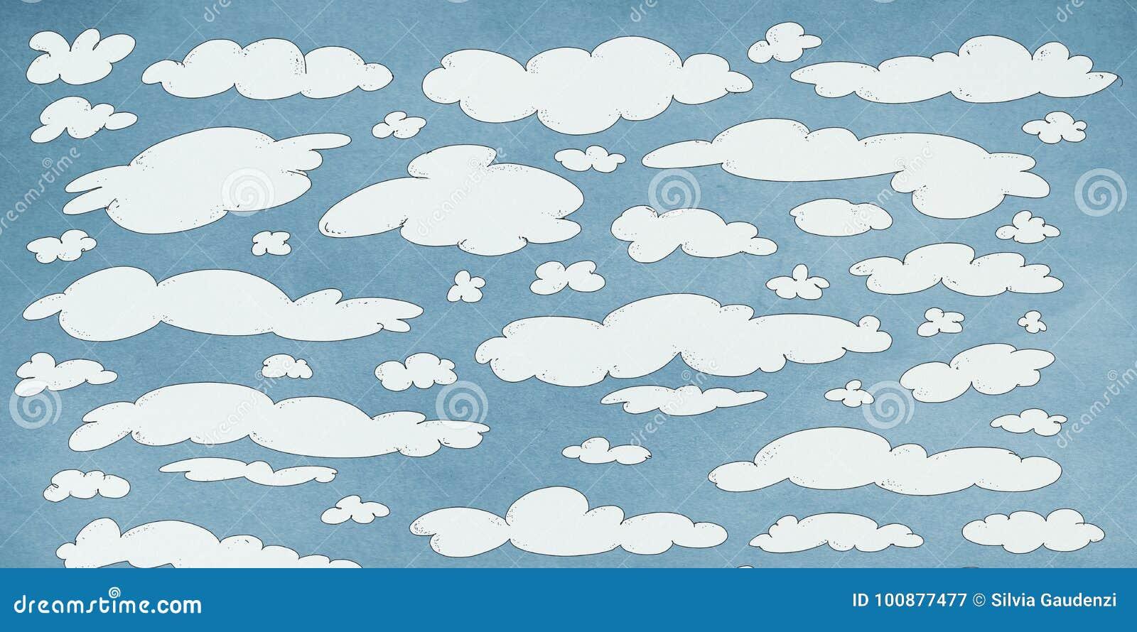 Nuages Blancs Dans Le Ciel bleu, sztandar