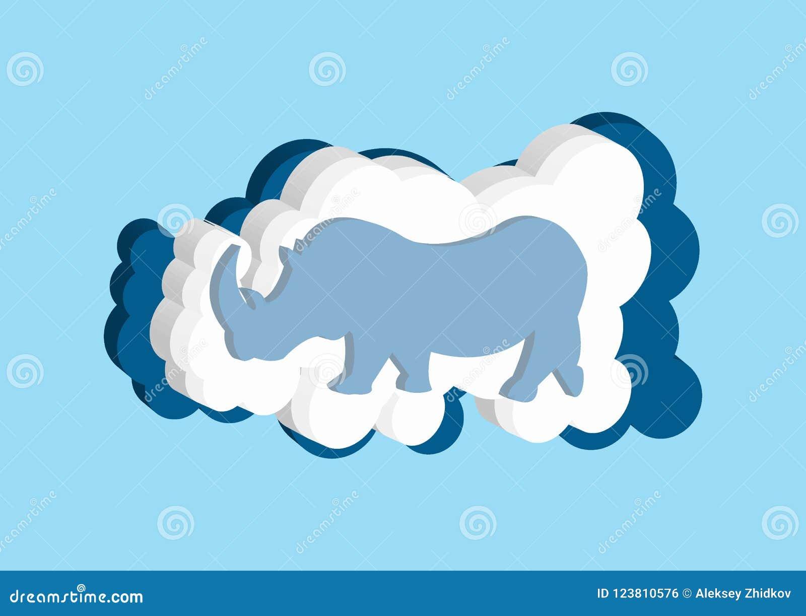 Nuages 3D sous forme de rhinocéros d Afrique Dirigez la couleur bleue et blanche de nuage d icônes sur un fond bleu
