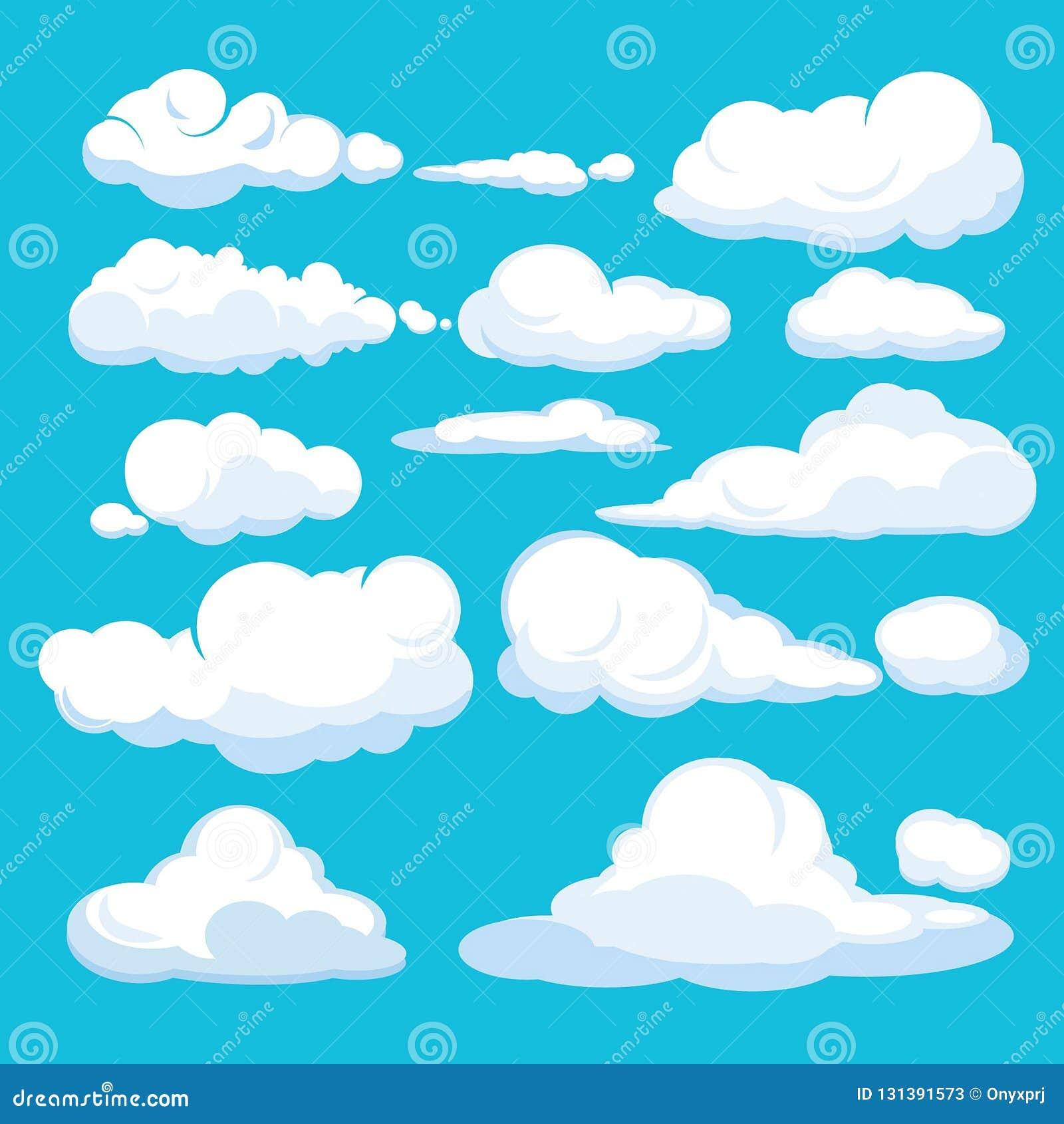 Nuages De Dessin Anime Formes Et Les Formes De Nuages Bleus Aeriens De Cloudscape De Ciel Bleu Les Differentes Dirigent Des Illus Illustration De Vecteur Illustration Du Ciel Bleus 131391573