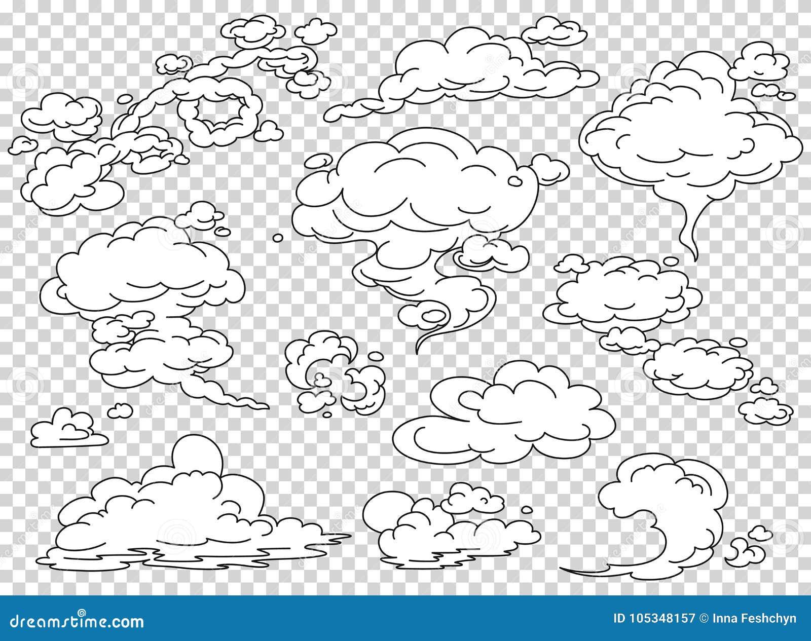 Nuages de vapeur de bande dessinée réglés Illustration blanche de vecteur de fumée de bande dessinée Embrumez le clipart d isolem