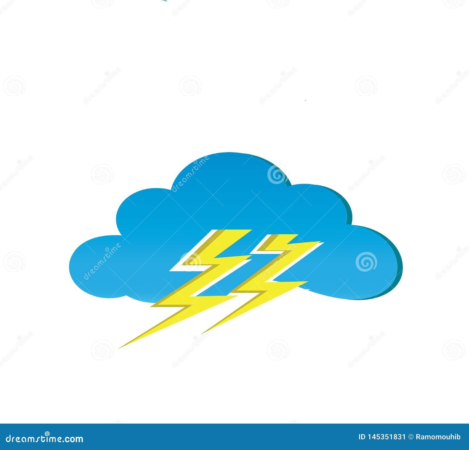 Nuages et tonnerre pour l illustrateur de conception de logo, symbole d orage