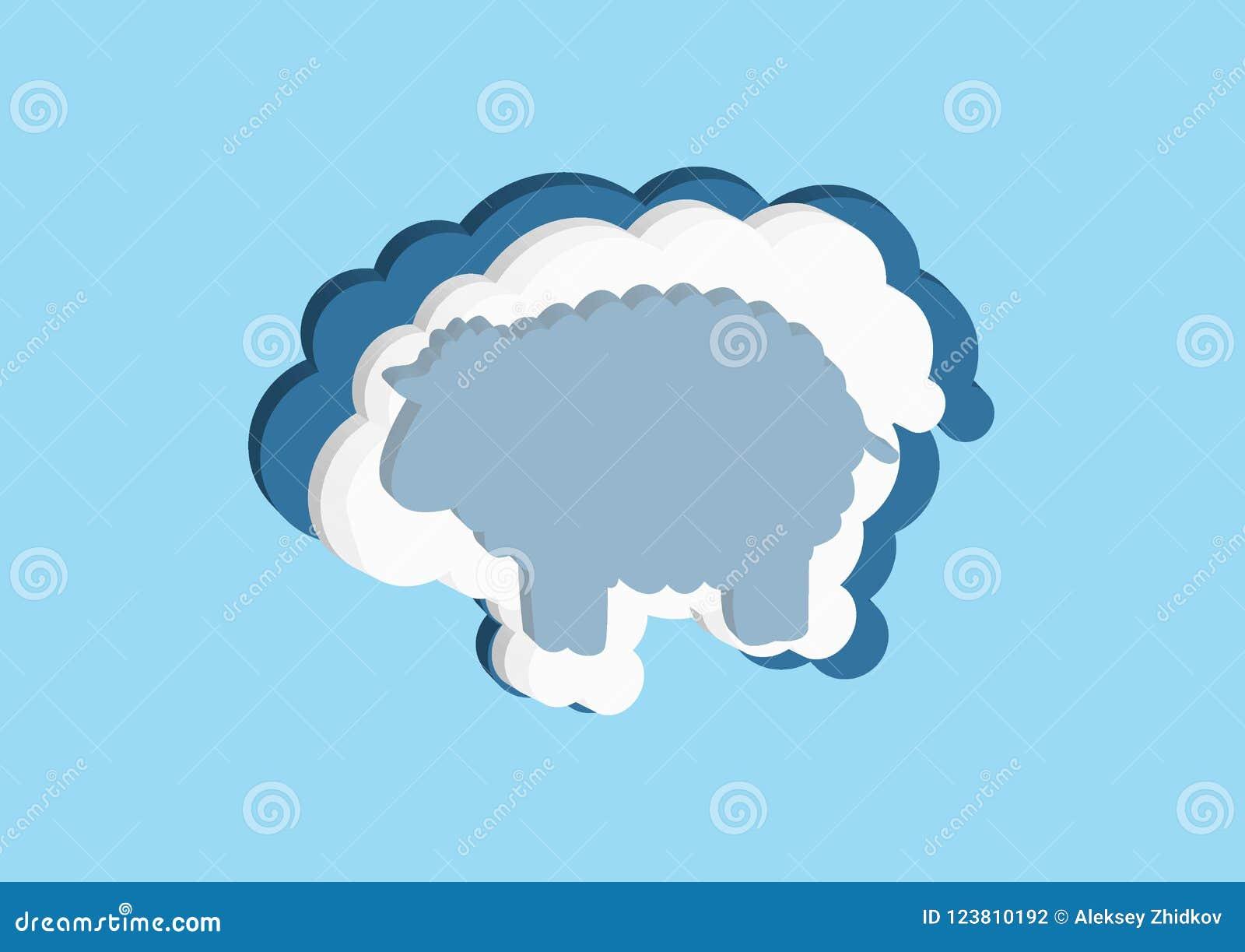 Nuages sous forme d agneau Dirigez la couleur bleue et blanche de nuage d icônes sur un fond bleu Le ciel est une collection dens