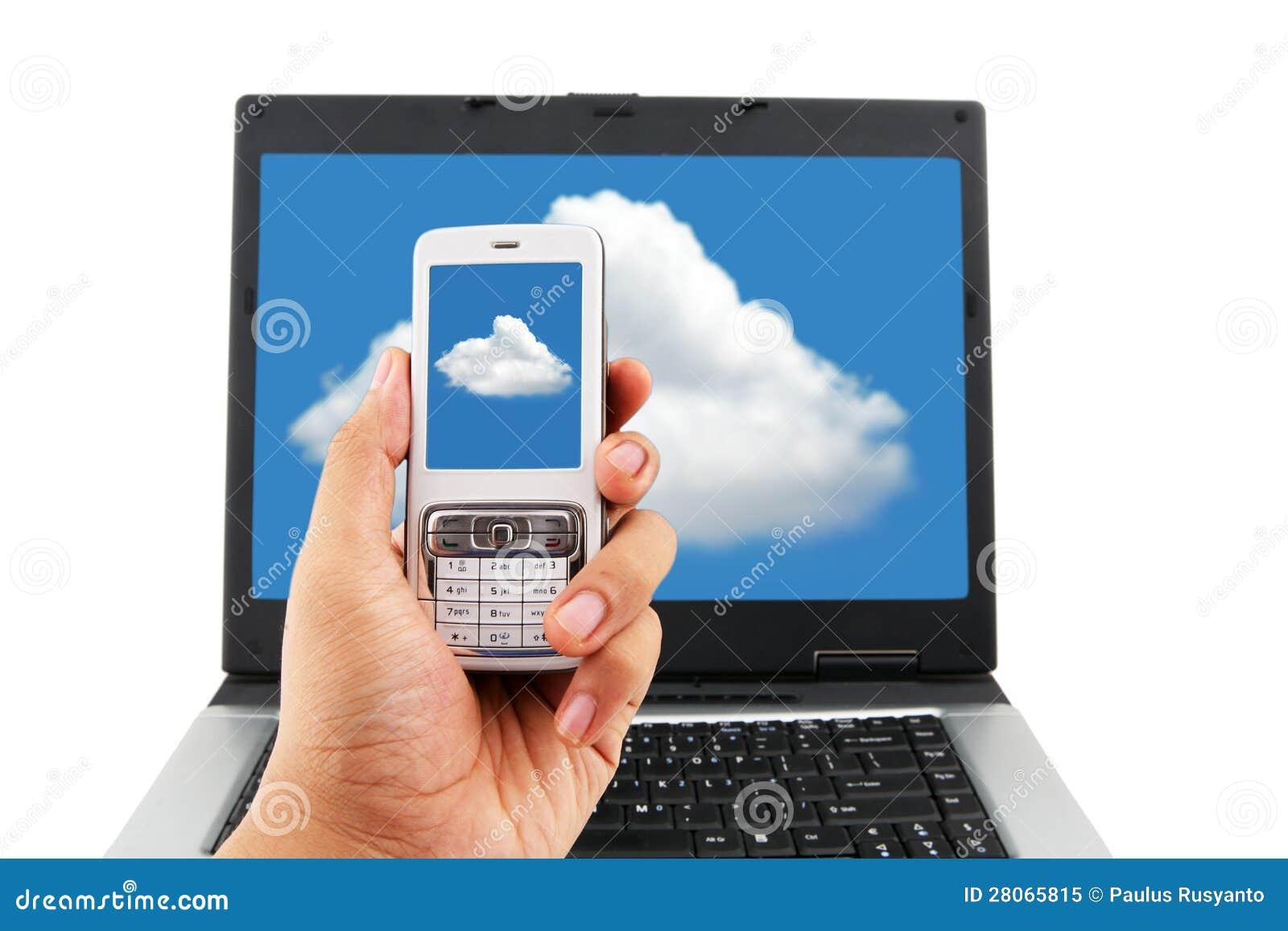 Nube che computa con il telefono mobile immagine stock for Mobile telefono