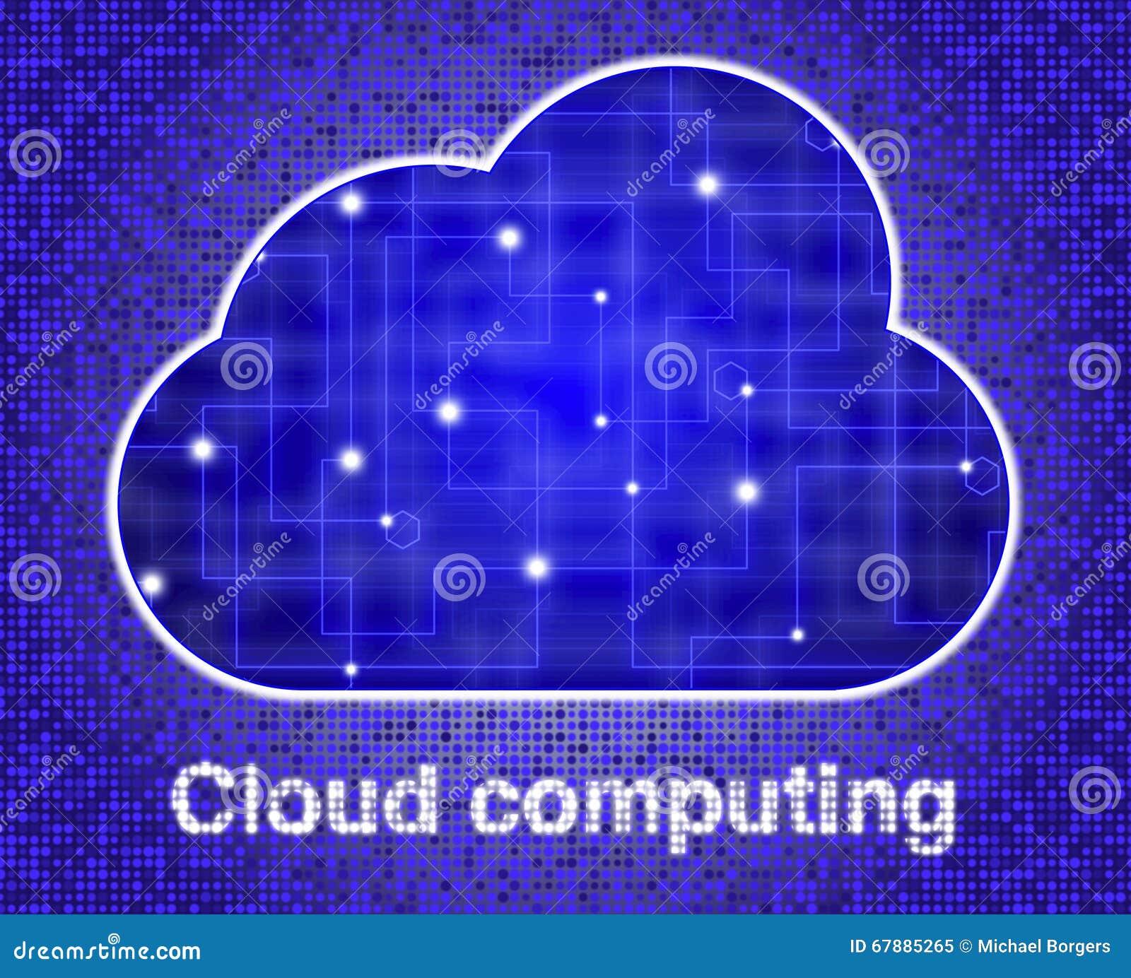 Nube con textura de la red que brilla intensamente