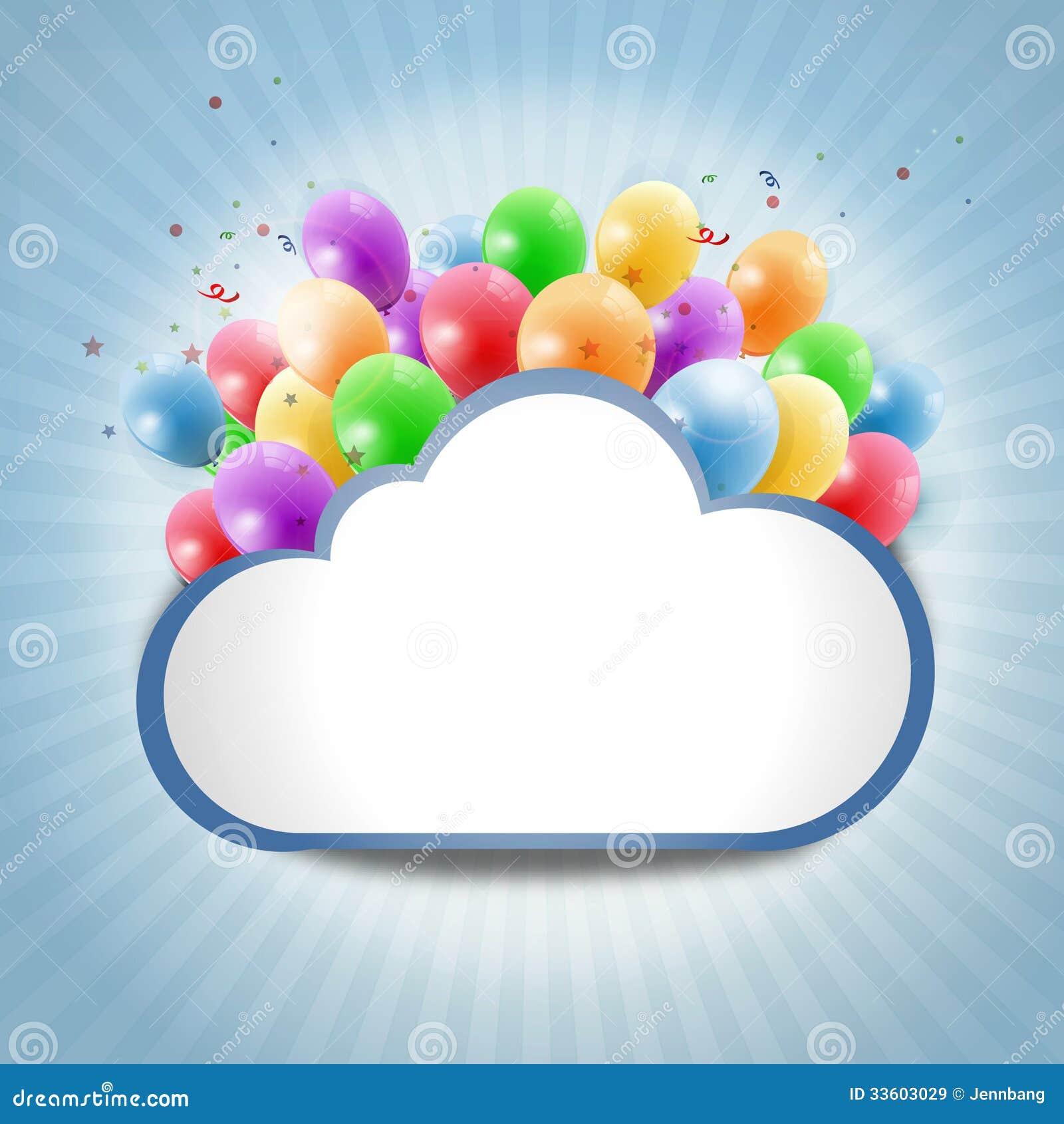 Nube de Internet con los globos coloridos