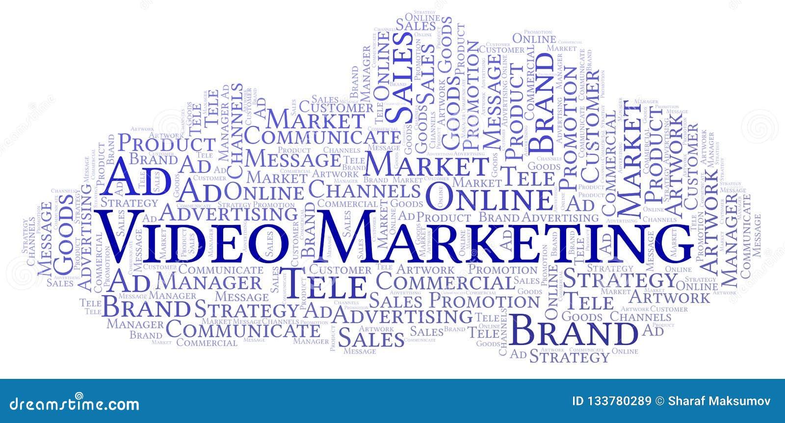 Nube de la palabra con el márketing video del texto