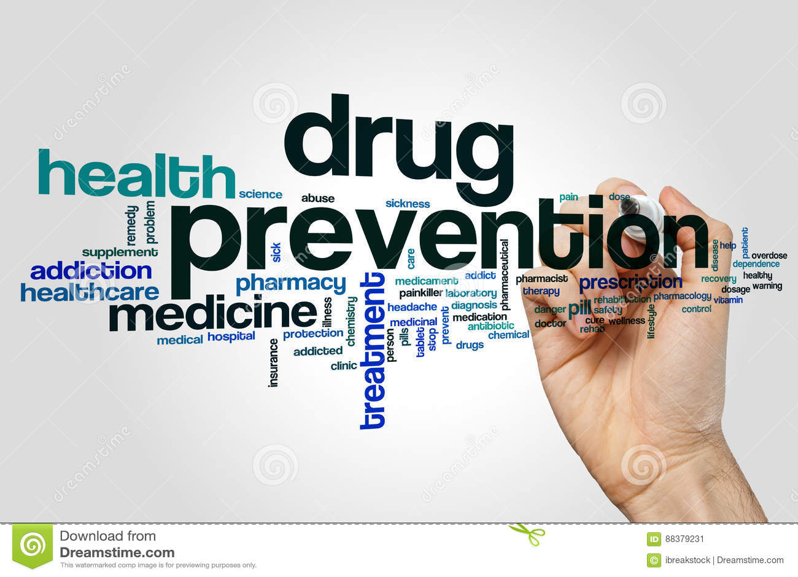 Nube de la palabra de la prevención del consumo de drogas