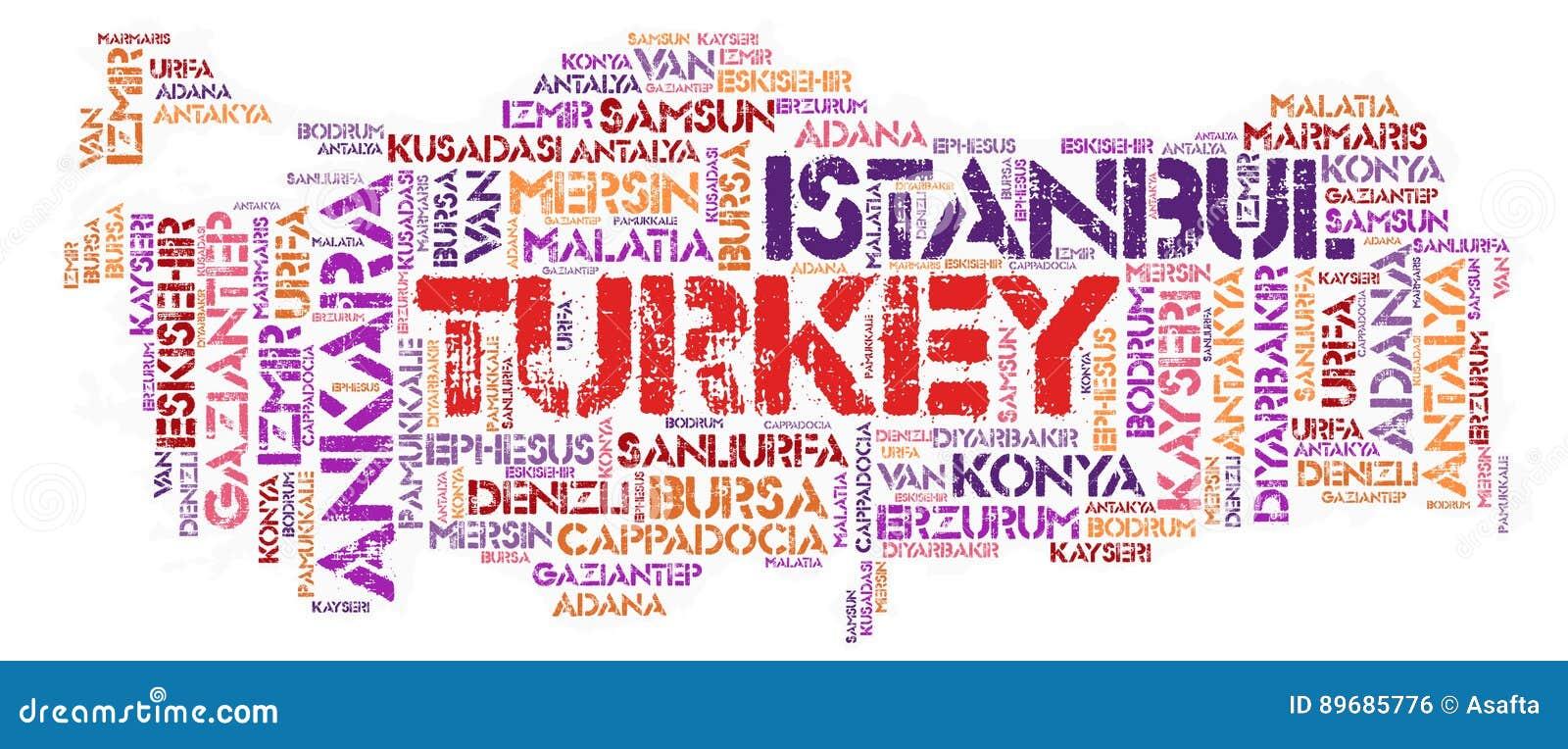Nube de la palabra de los destinos del viaje del top de Turquía