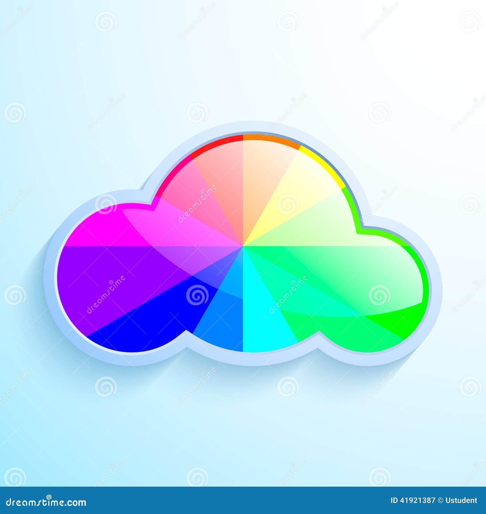 Nube del vector con el arco iris