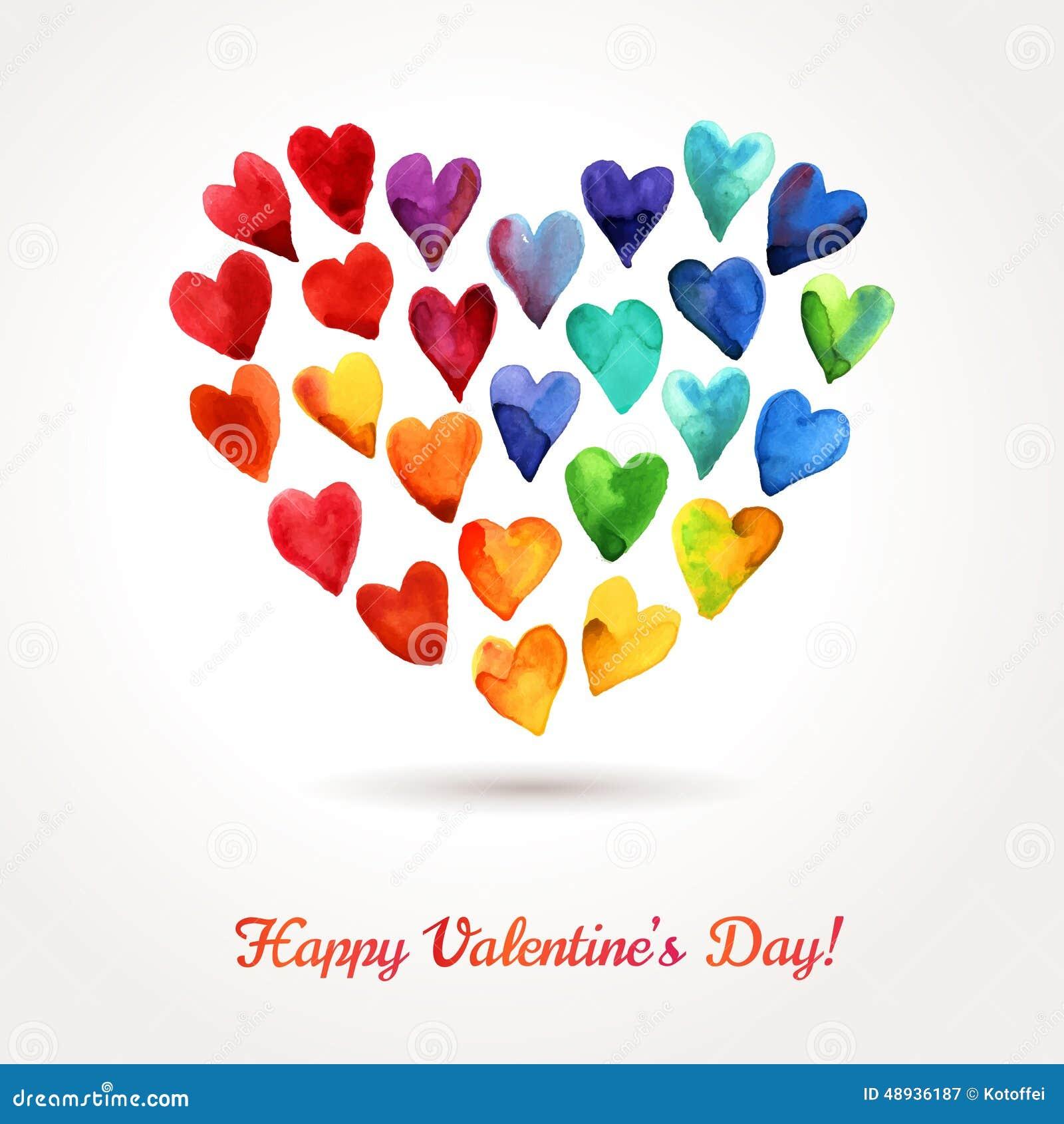 Nube feliz de los corazones del día de tarjetas del día de San Valentín de la acuarela