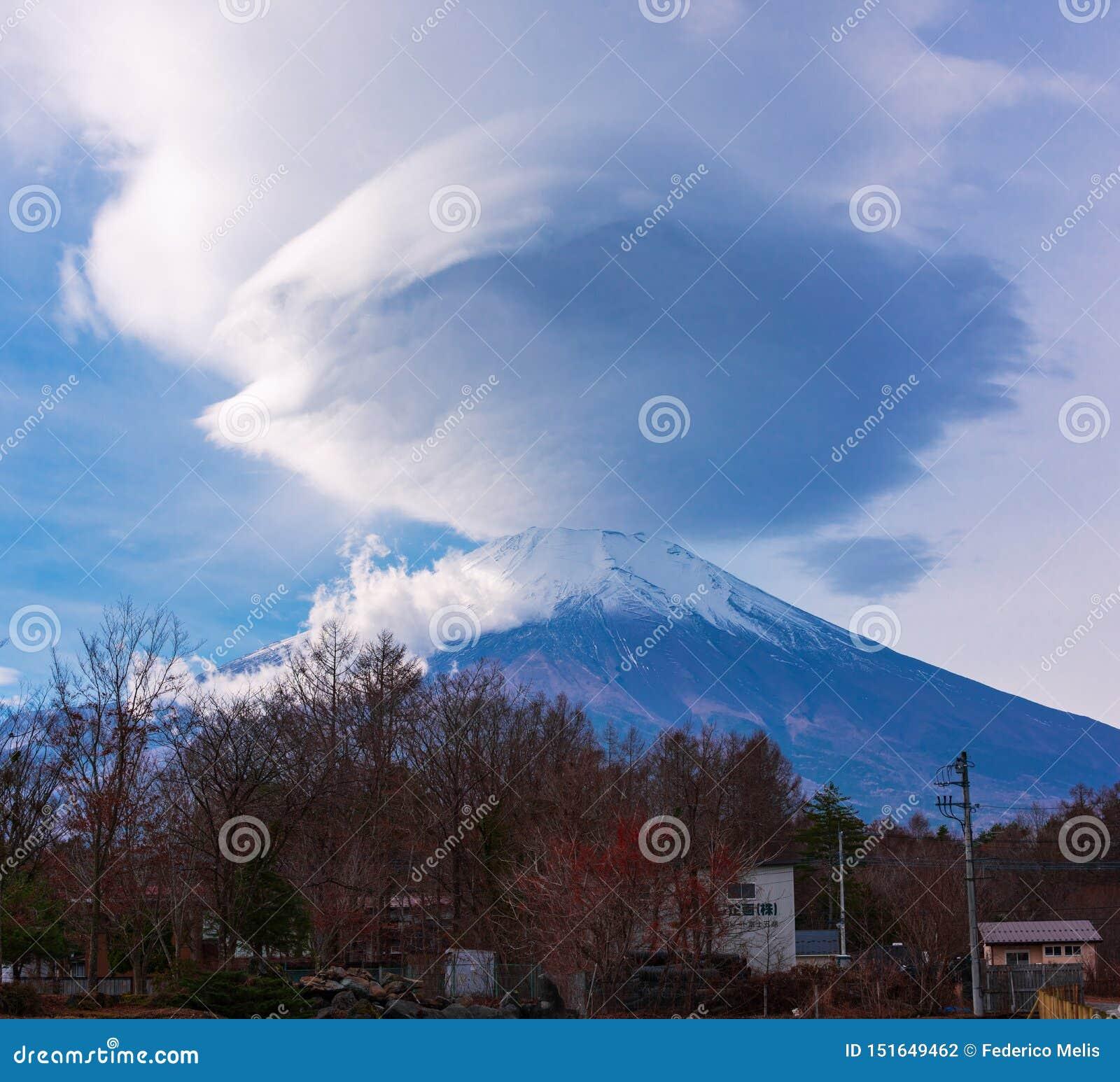 Nube lenticular Japón del monte Fuji
