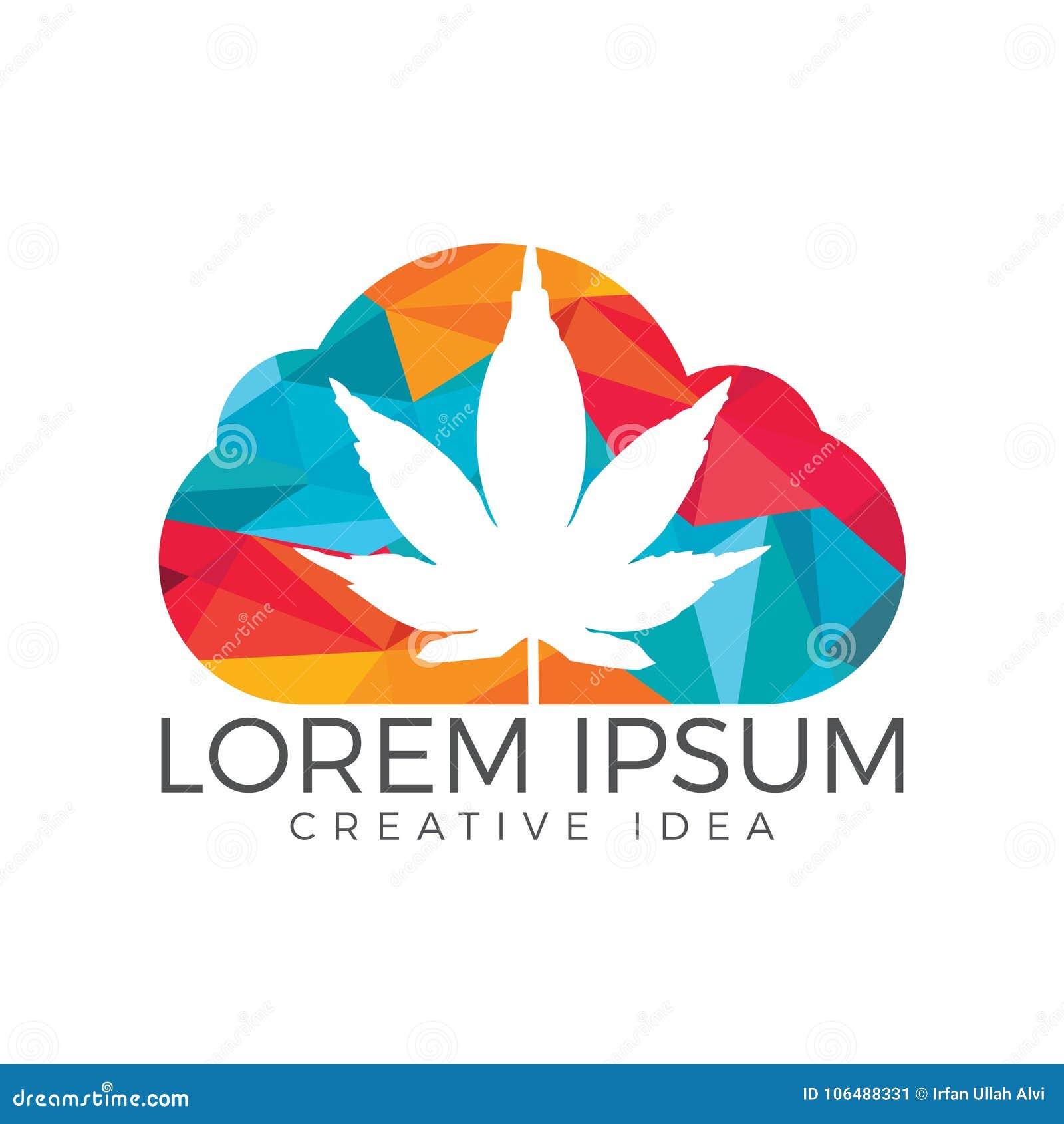 Nube o humo con diseño del logotipo de la hoja de la marijuana
