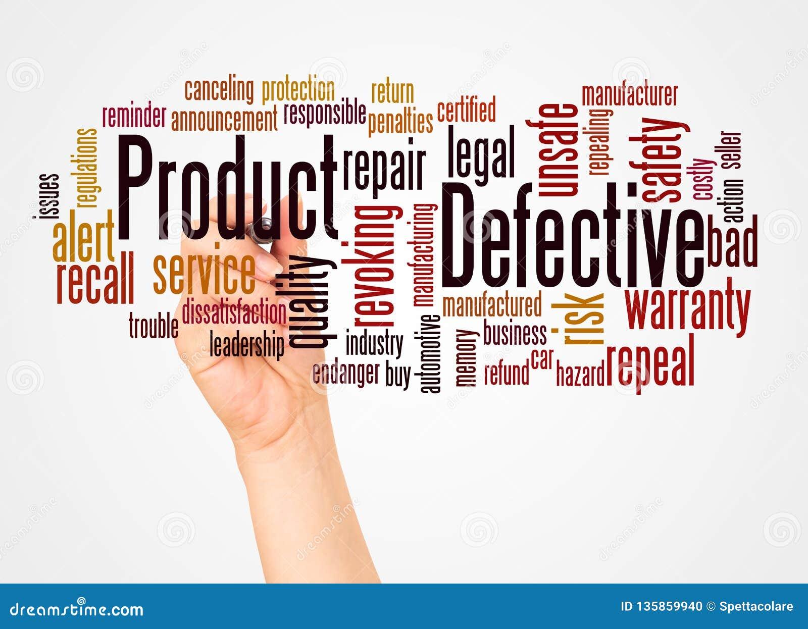 Nube y mano de la palabra del producto defectuoso con concepto del marcador
