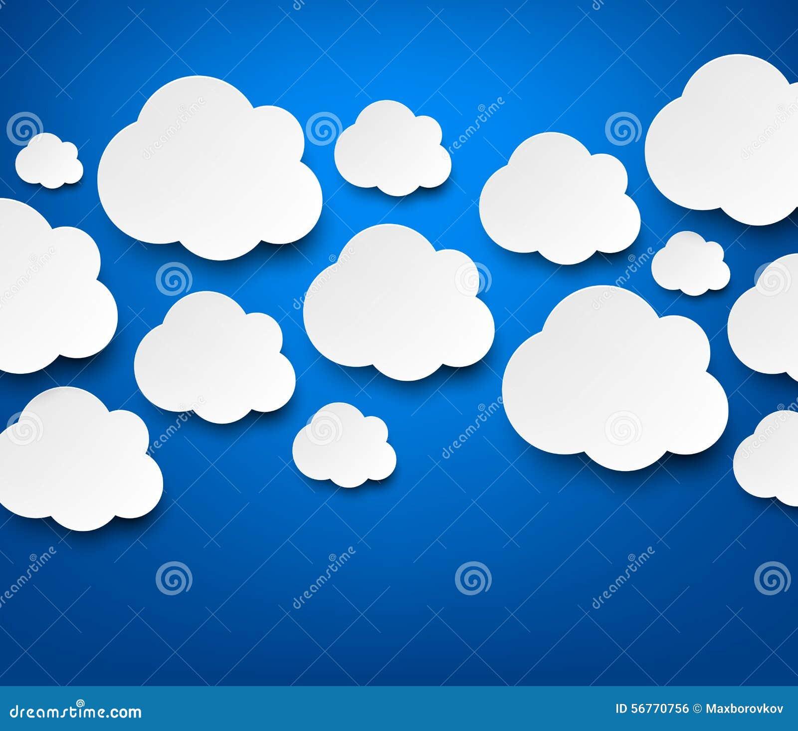 Nubes blancas de papel en azul