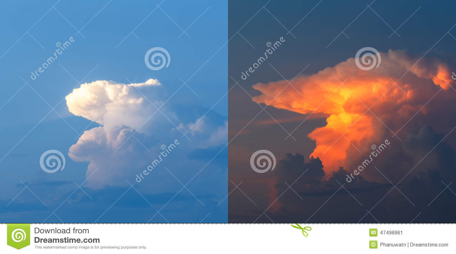 Nubes cielo con las nubes antes y durante puesta del sol