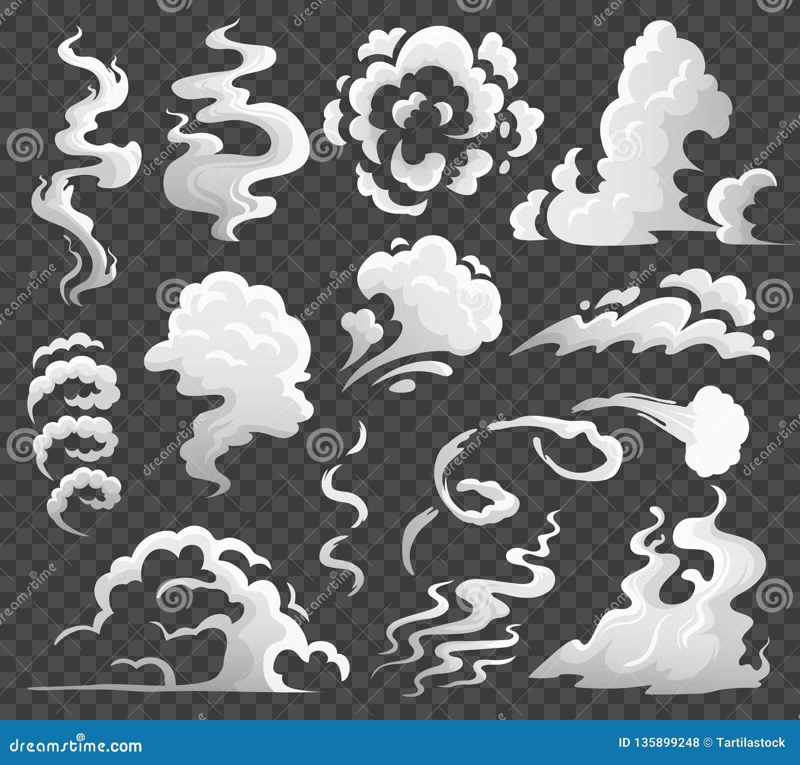 Nubes de humo Nube cómica del vapor, remolino del humo y flujo del vapor El polvo se nubla el ejemplo aislado del vector de la hi