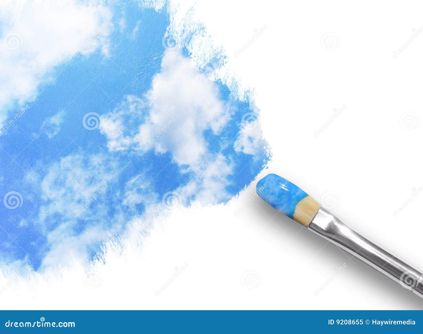 Nubes de la pintura de la brocha en cielo
