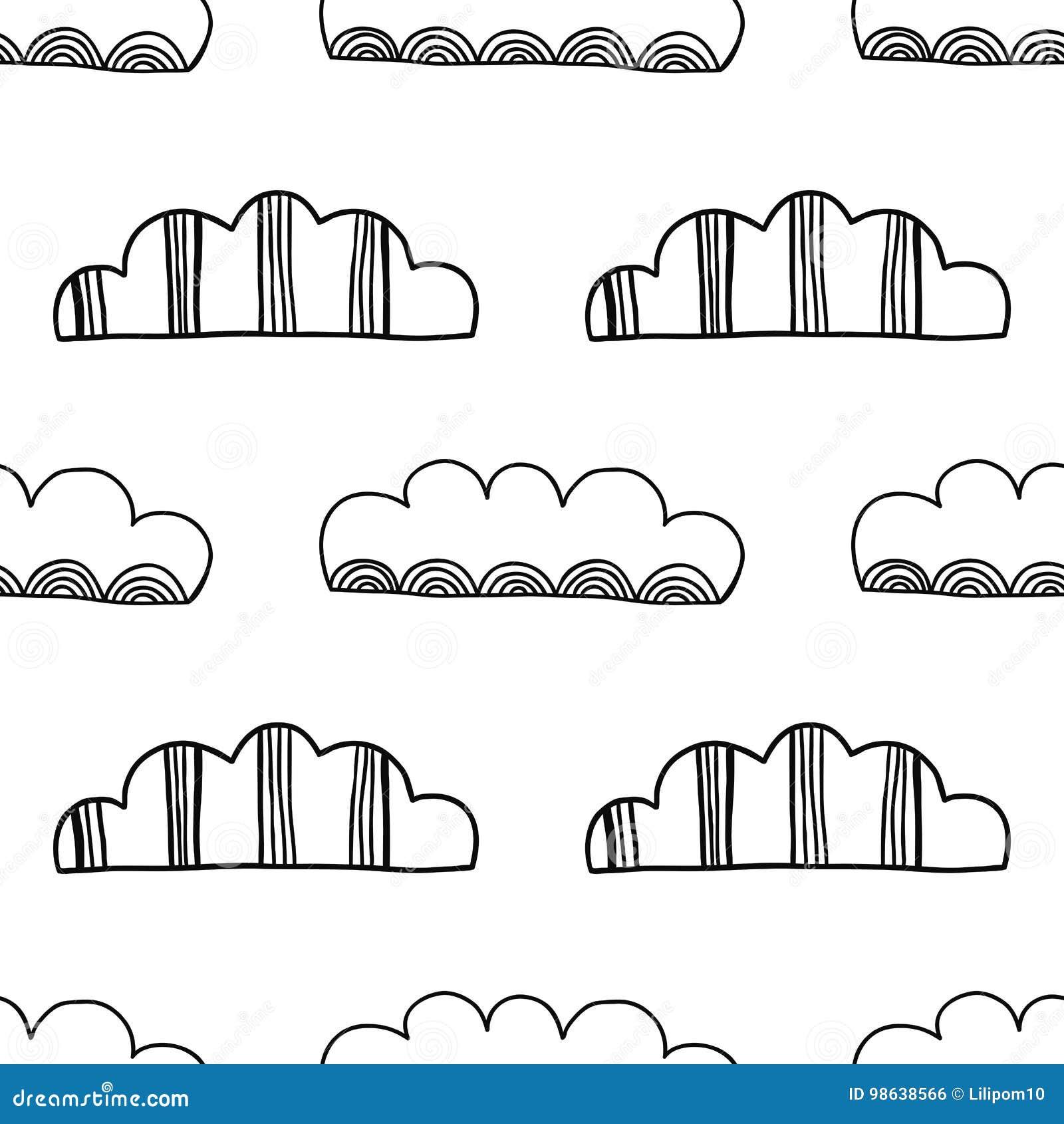 Nubes Decorativas Ejemplo Blanco Y Negro Modelo Inconsútil