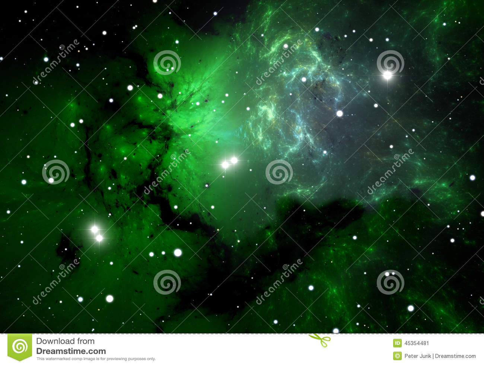 Nubes frías verdes en la nebulosa de la emisión